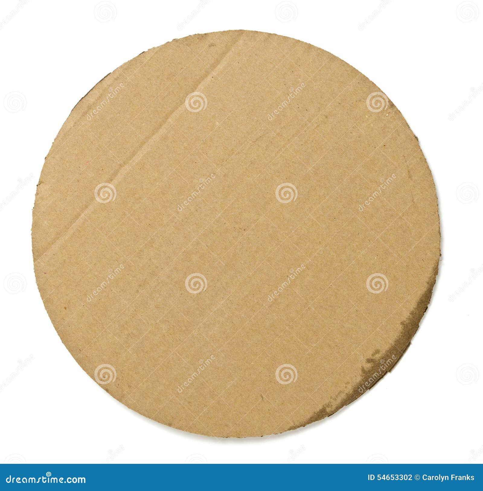 ... fondo rotondo del cartone usato per portare pizza su un fondo bianco