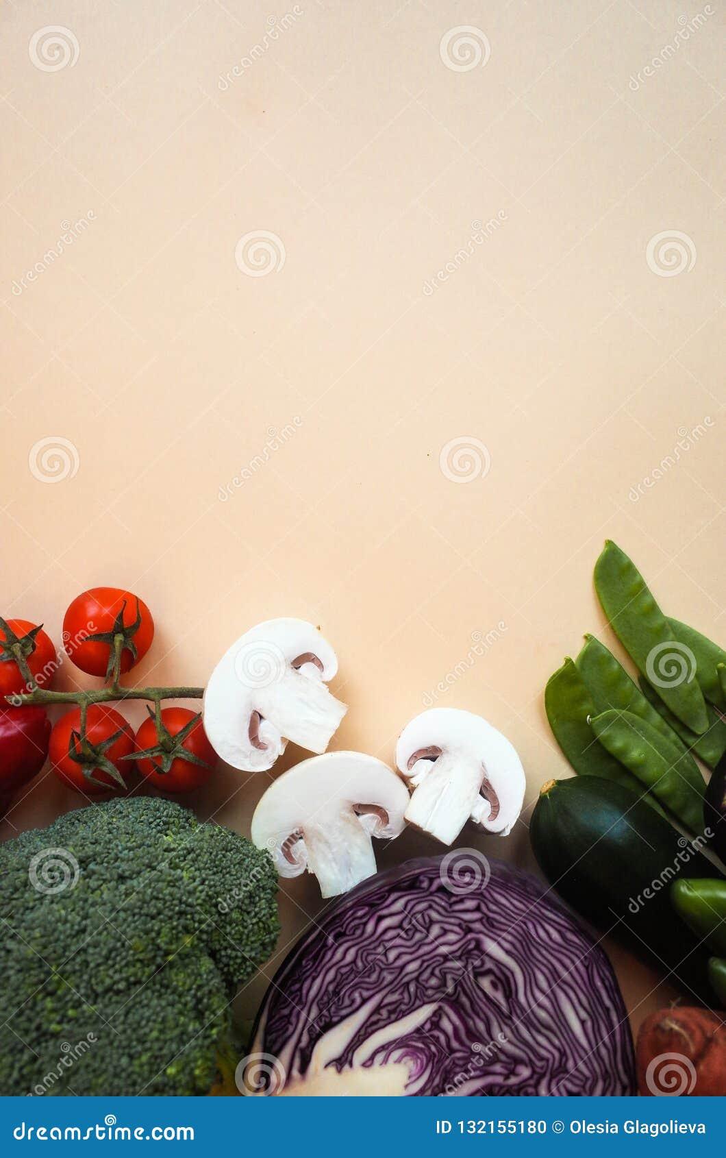Fondo sano di cibo Fondo differente di colore delle verdure di fotografia dell alimento Copi lo spazio