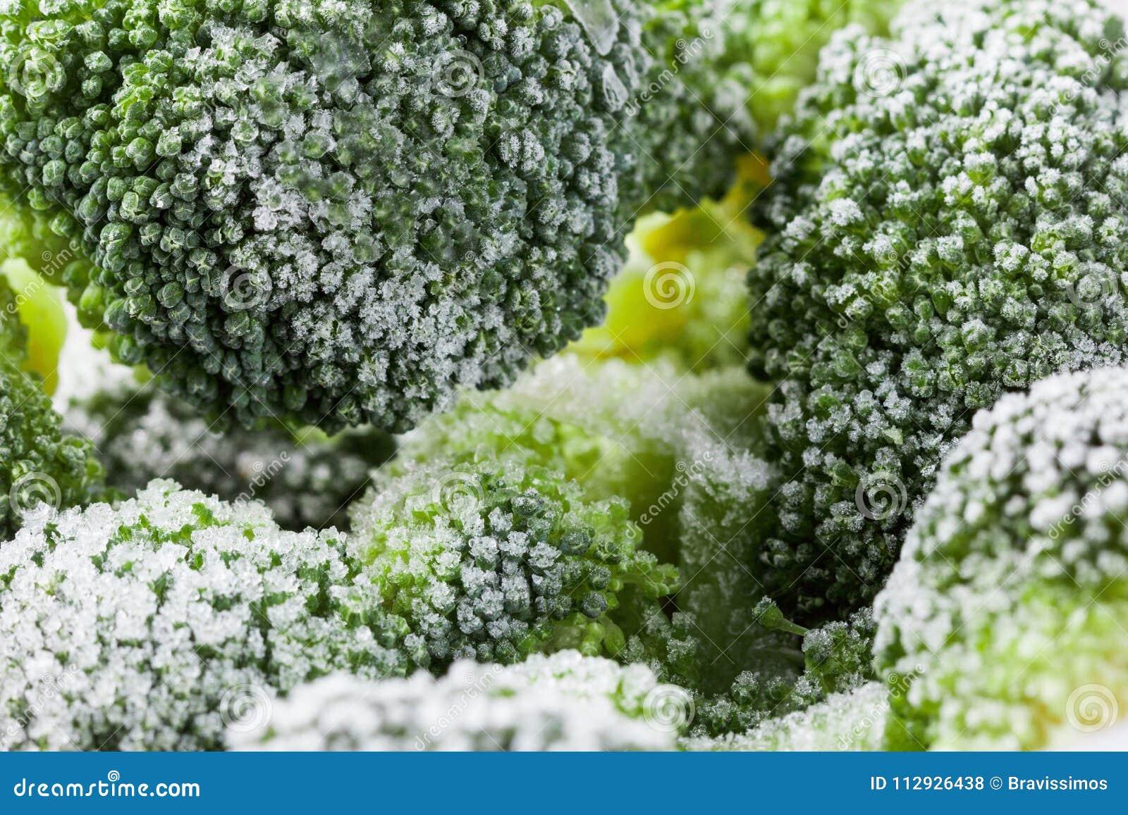 Fondo sano vegetal de la comida Vitaminas congeladas bróculi