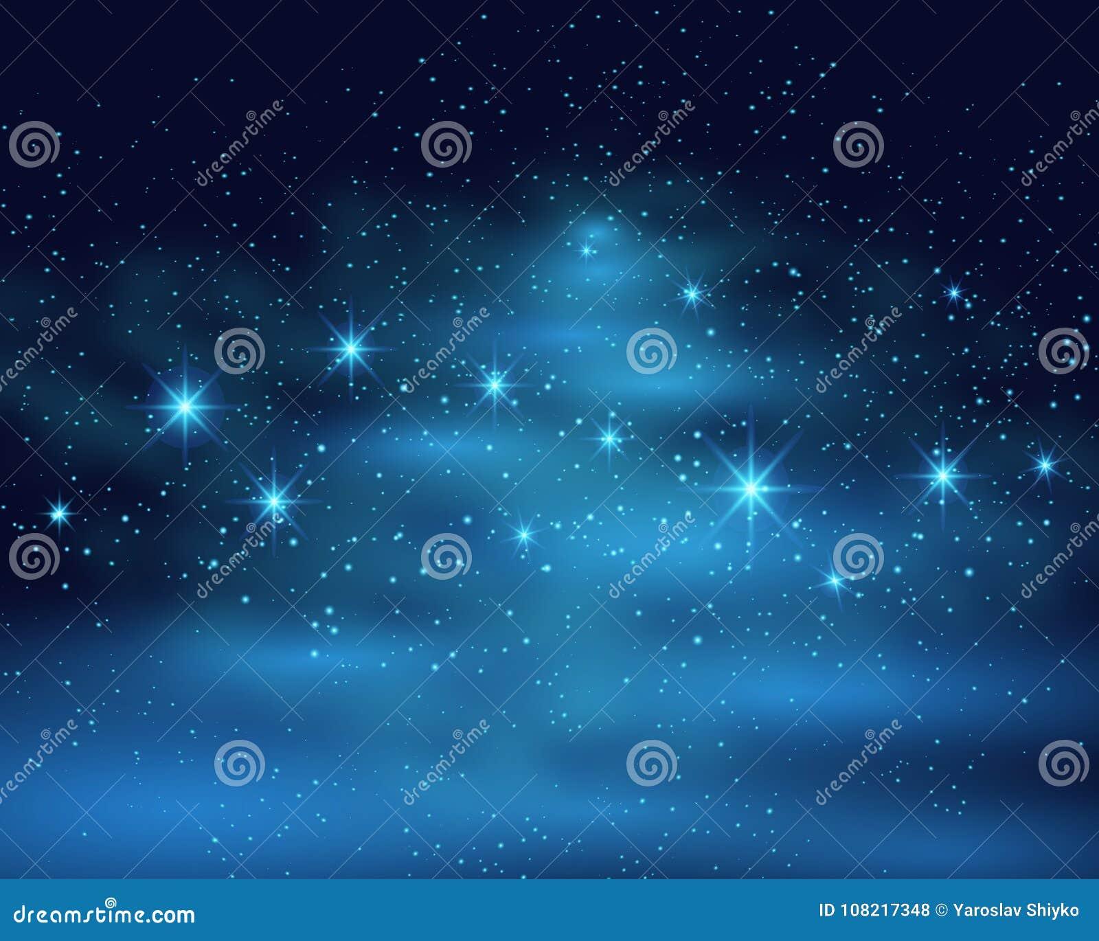 Fondo scuro del cielo dello spazio cosmico con la nebulosa brillante luminosa blu delle stelle all illustrazione di vettore di no