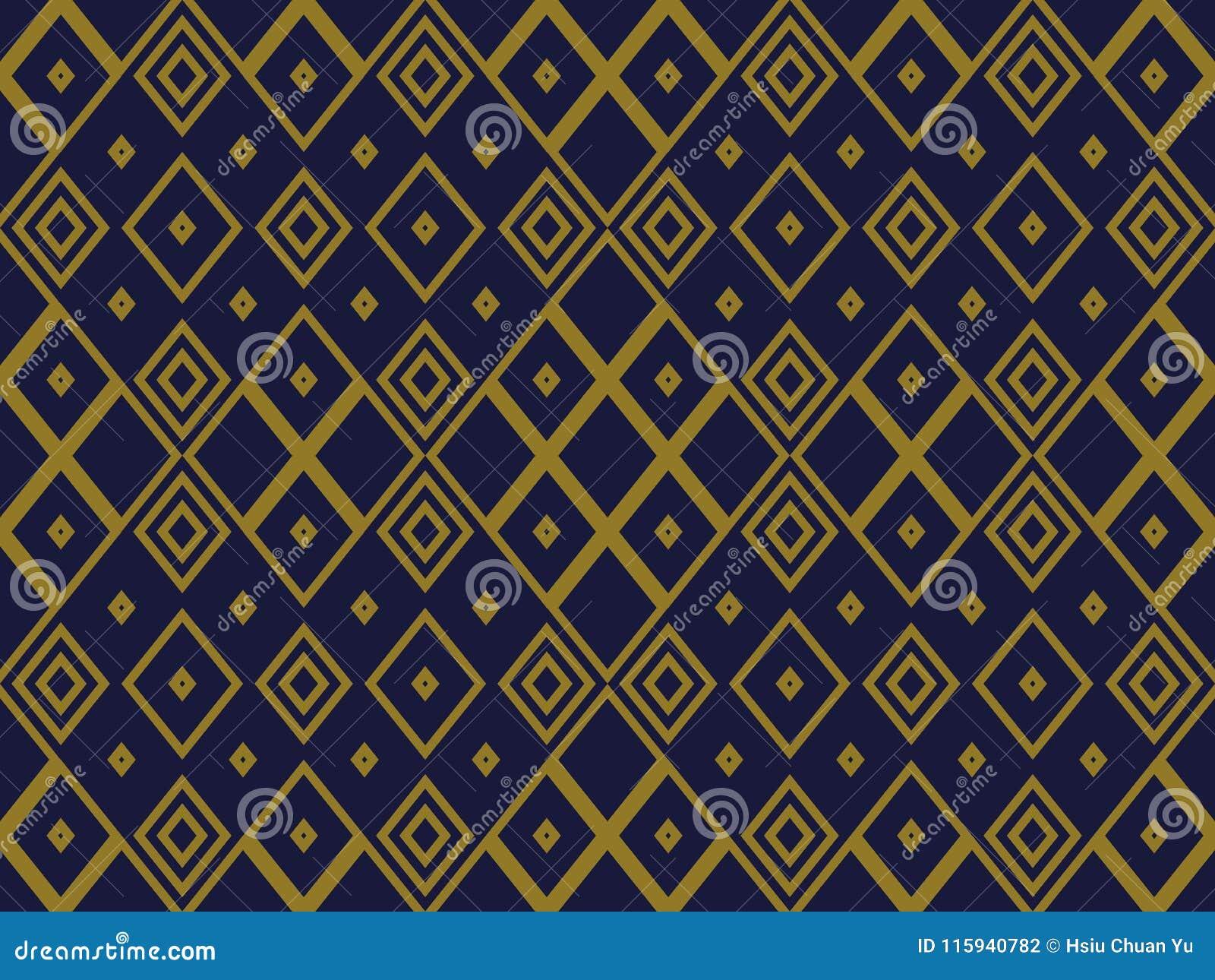 Fondo senza cuciture antico Diamond Check Cross Rhomb Geometry