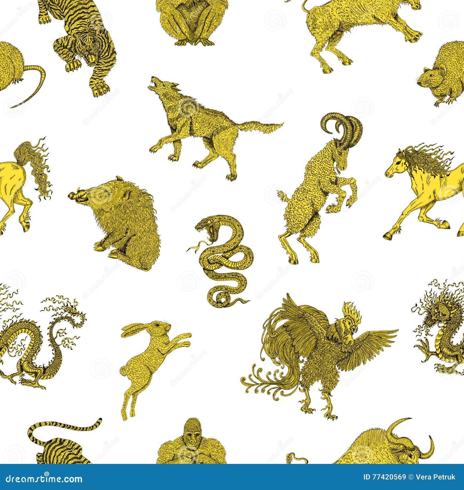 Calendario Esoterico.Fondo Senza Cuciture Con Gli Animali Cinesi Dello Zodiaco Su