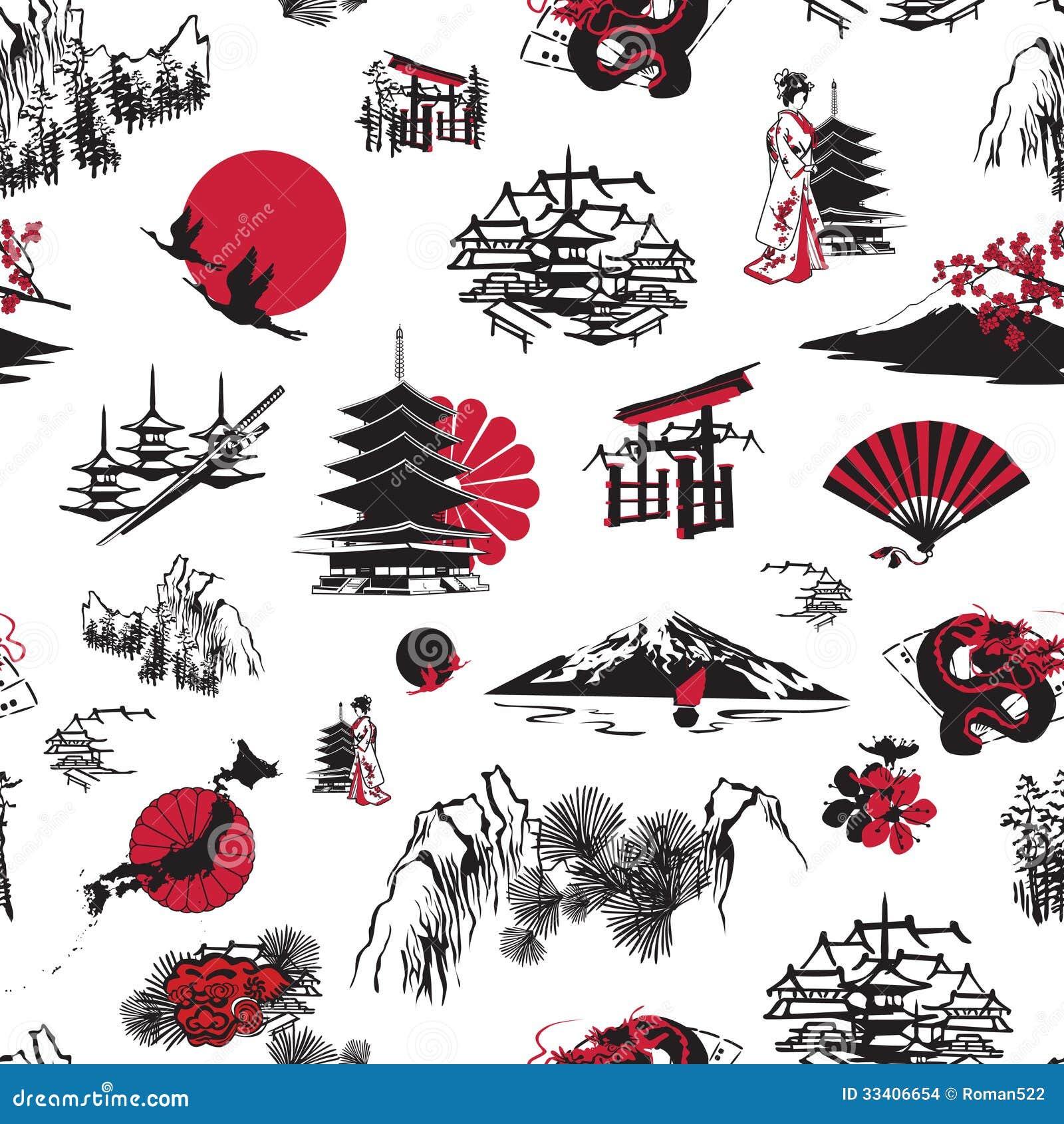 Fondo senza cuciture con le miniature giapponesi immagini for Tetti giapponesi