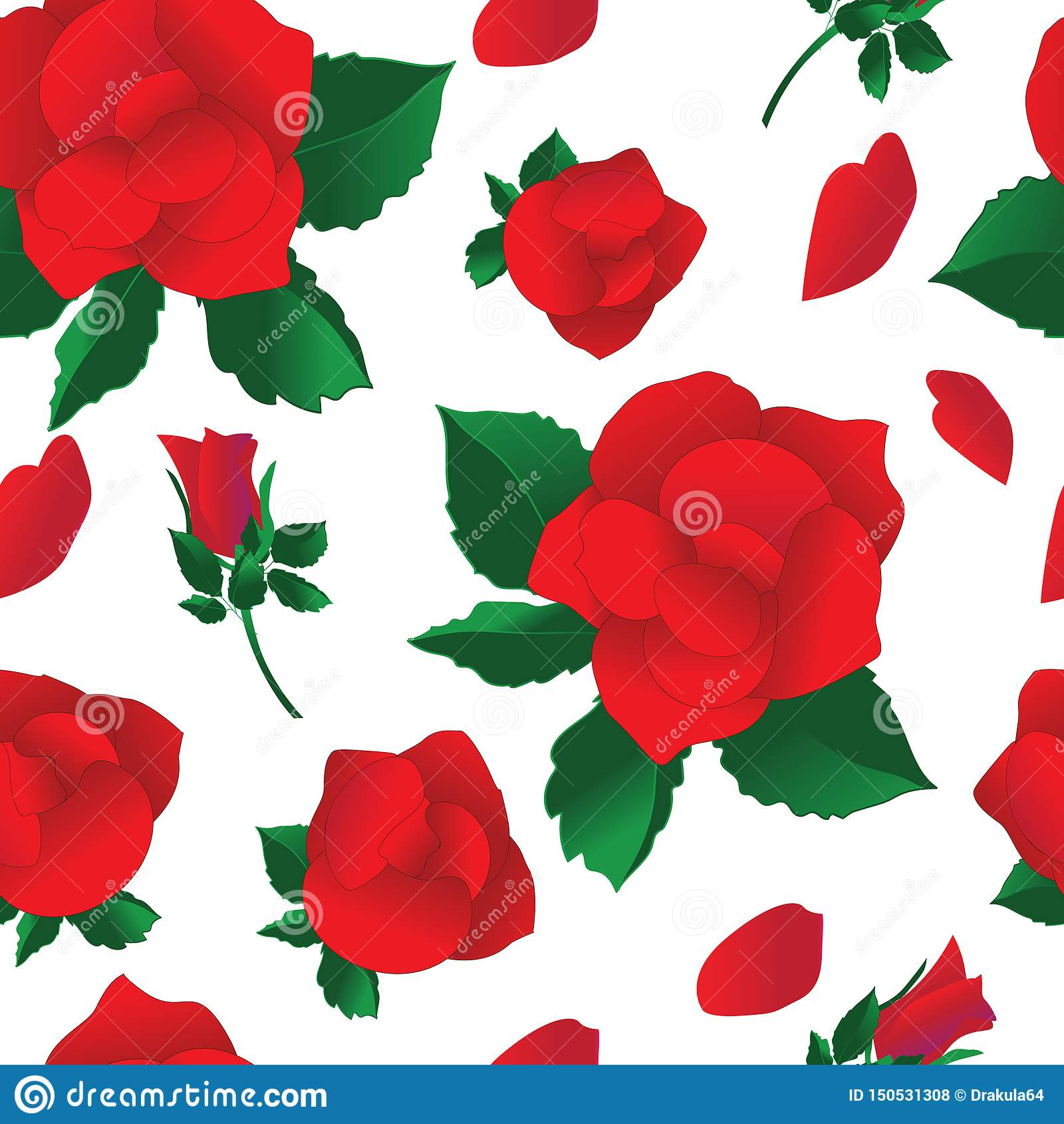 Fondo senza cuciture con le rose rosse su bianco