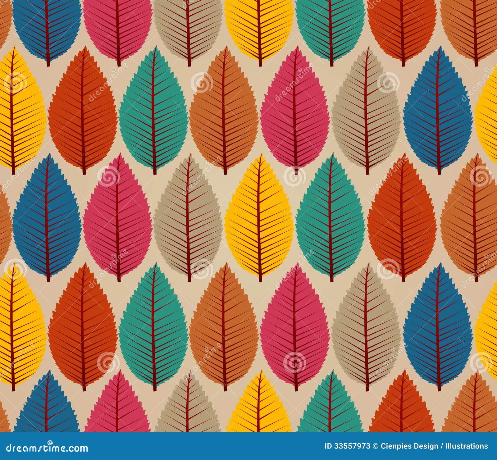Fondo senza cuciture d annata del modello delle foglie di autunno.