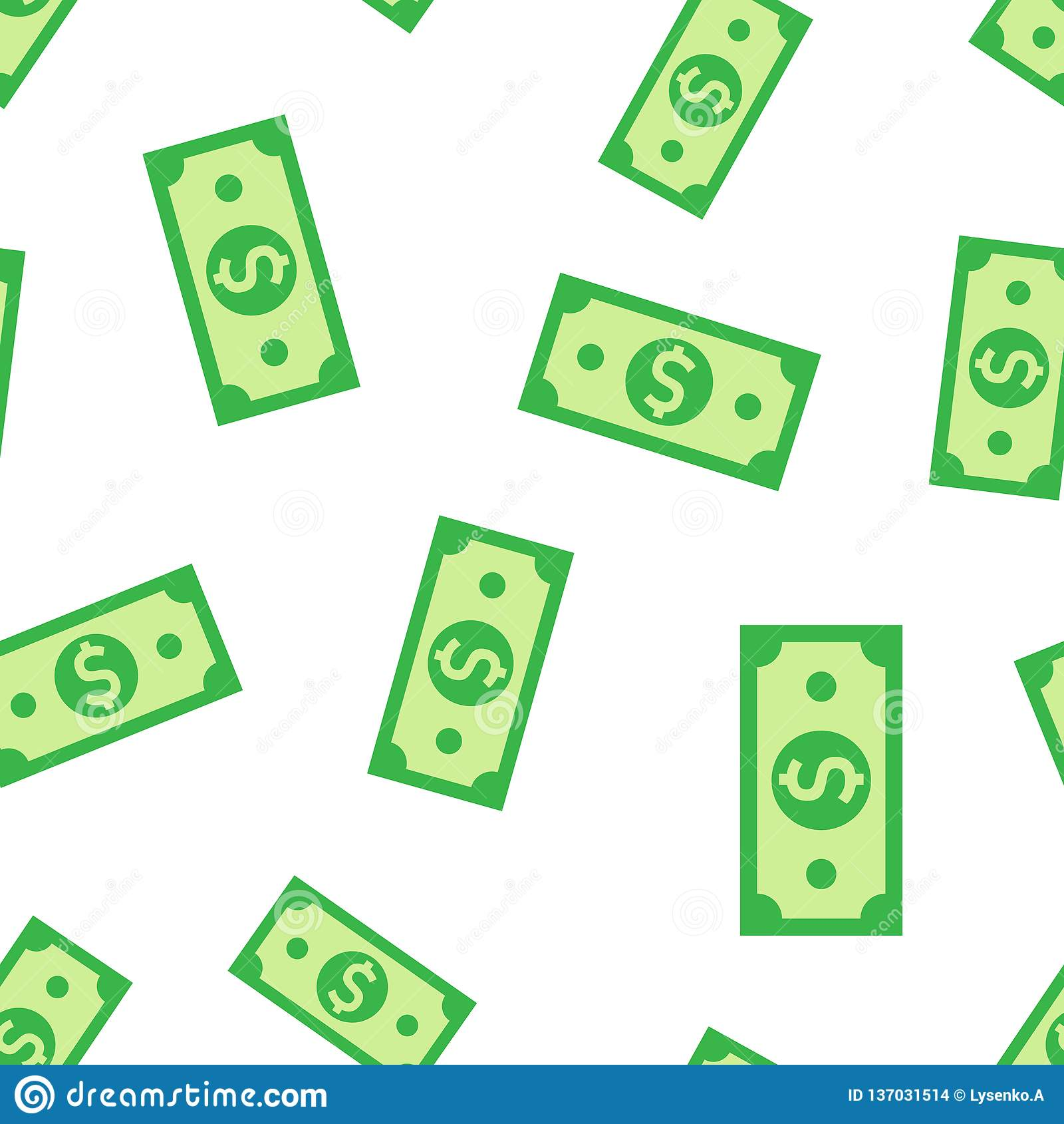 Fondo senza cuciture del modello dell icona della banconota di valuta del dollaro Illustrazione di vettore dei contanti del dolla