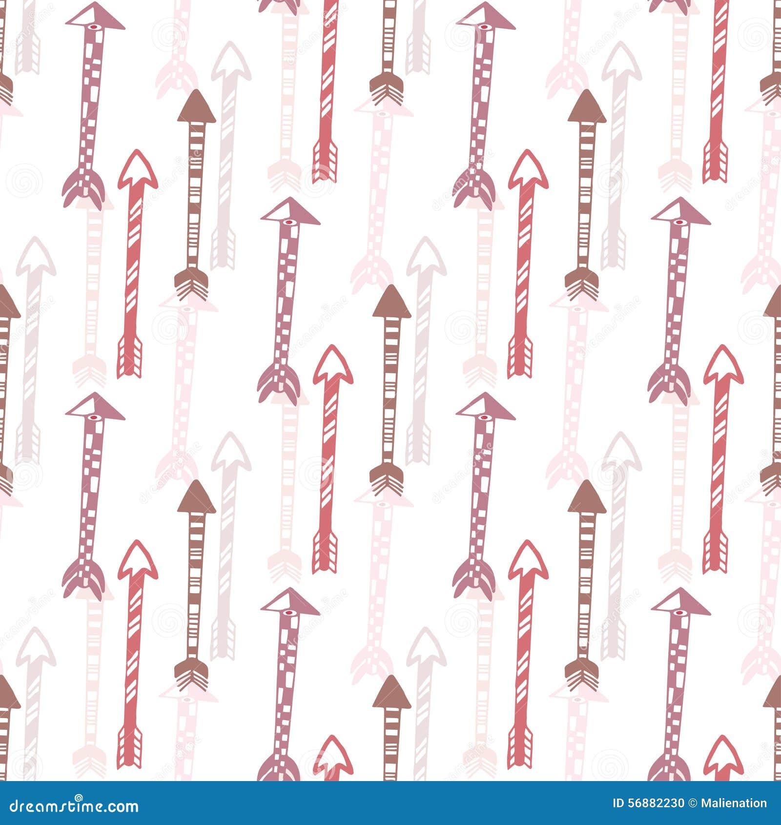 Fondo senza cuciture della freccia d annata Struttura etnica disegnata a mano delle frecce per il tessuto, stampa, web Vettore