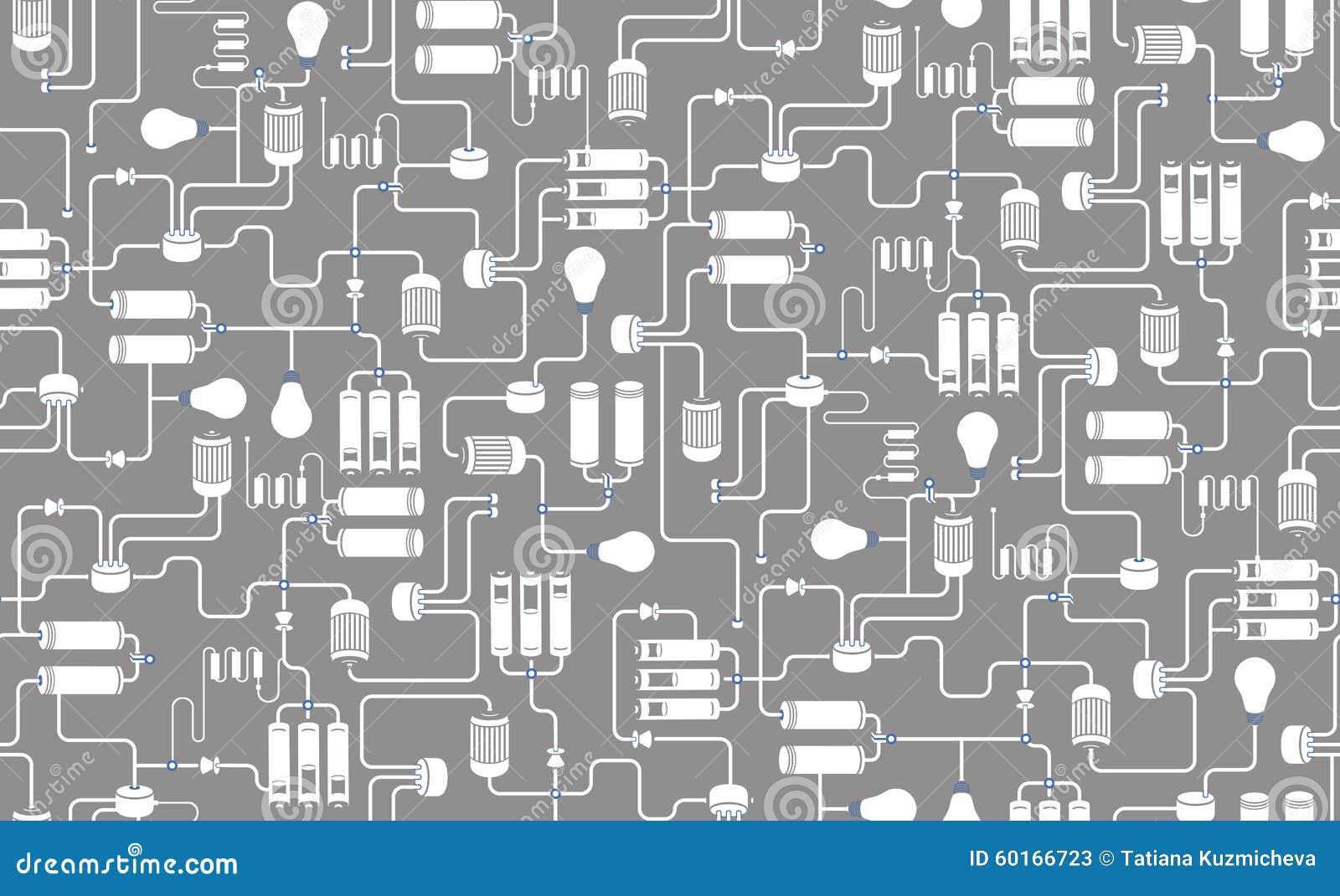 Schema Elettrico : Fondo senza cuciture dello schema elettrico illustrazione