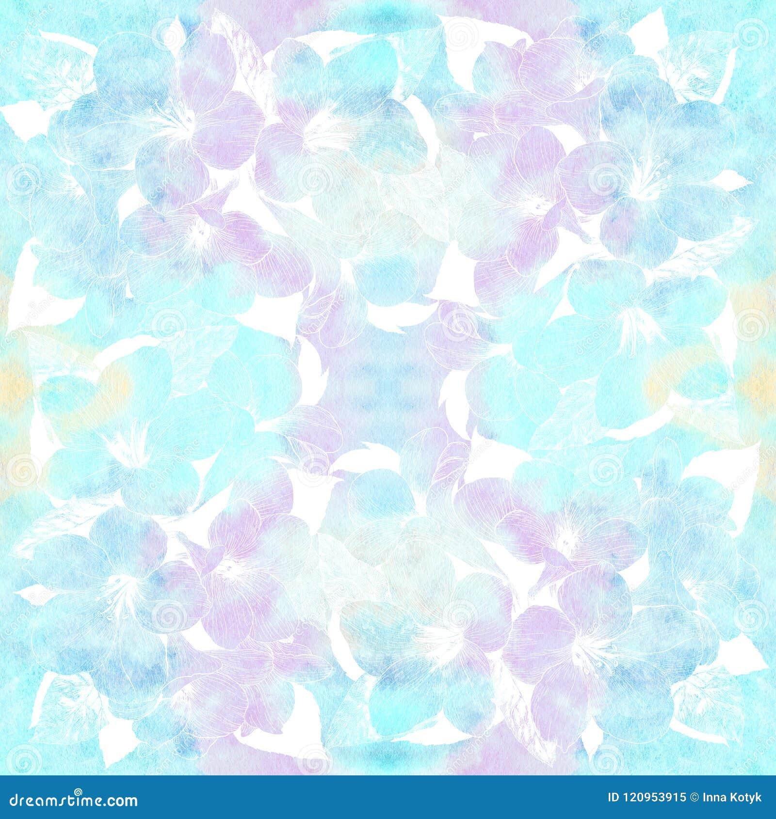 Fondo senza cuciture Fiori tropicali Arti grafiche Composizione decorativa - fiori su un fondo dell acquerello Usi il compagno st