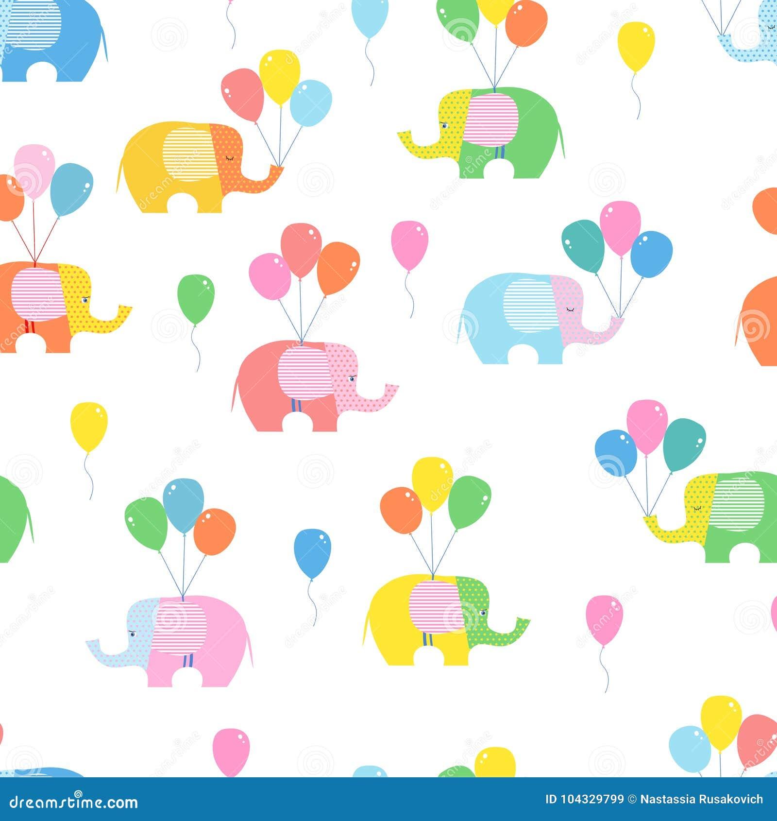 Fondo senza cuciture, modello con gli elefanti luminosi e palloni su fondo bianco