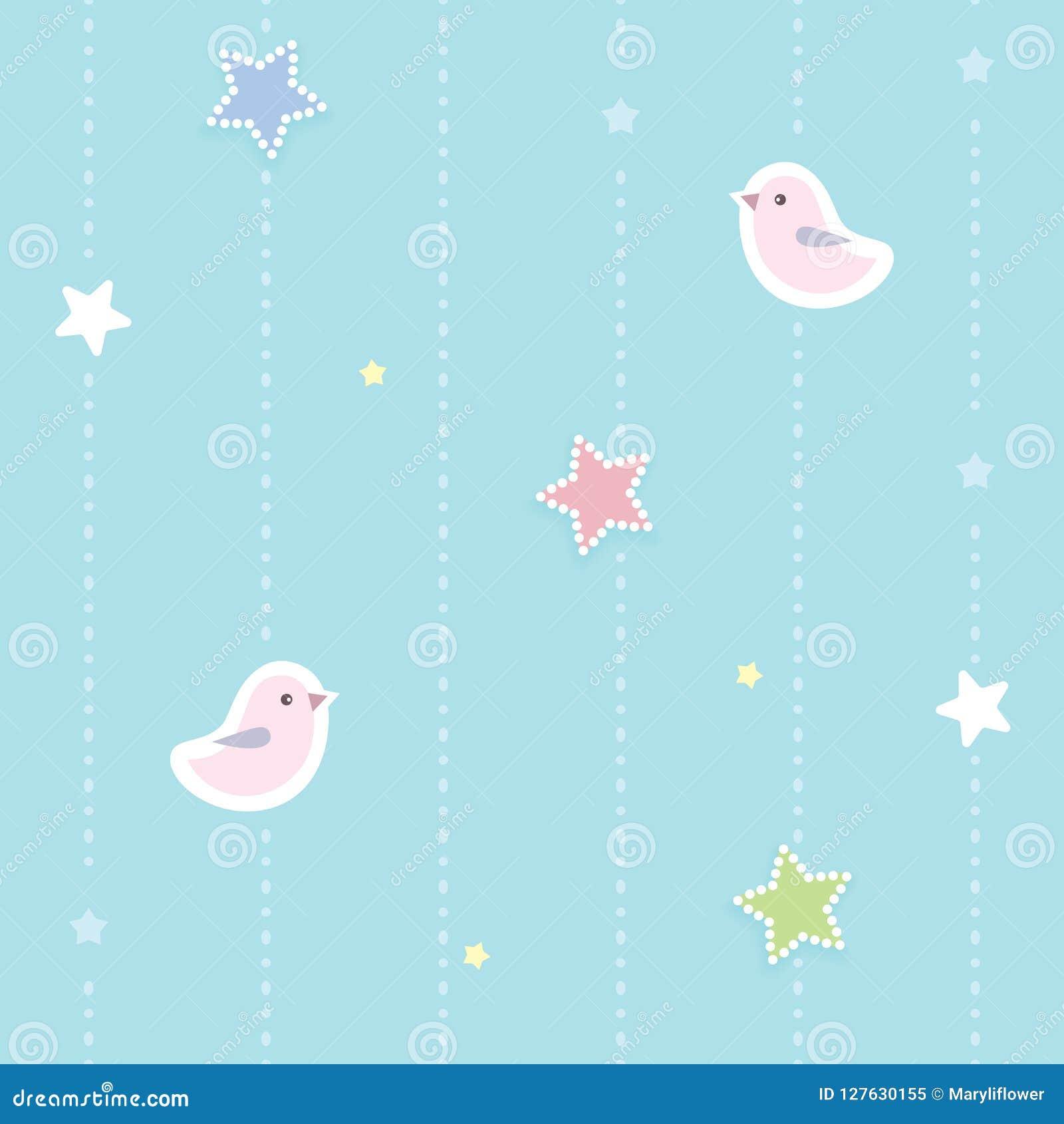 Fondo senza cuciture sveglio con le stelle punteggiate variopinte e gli uccelli rosa Camera da letto del ` s dei bambini, carta d