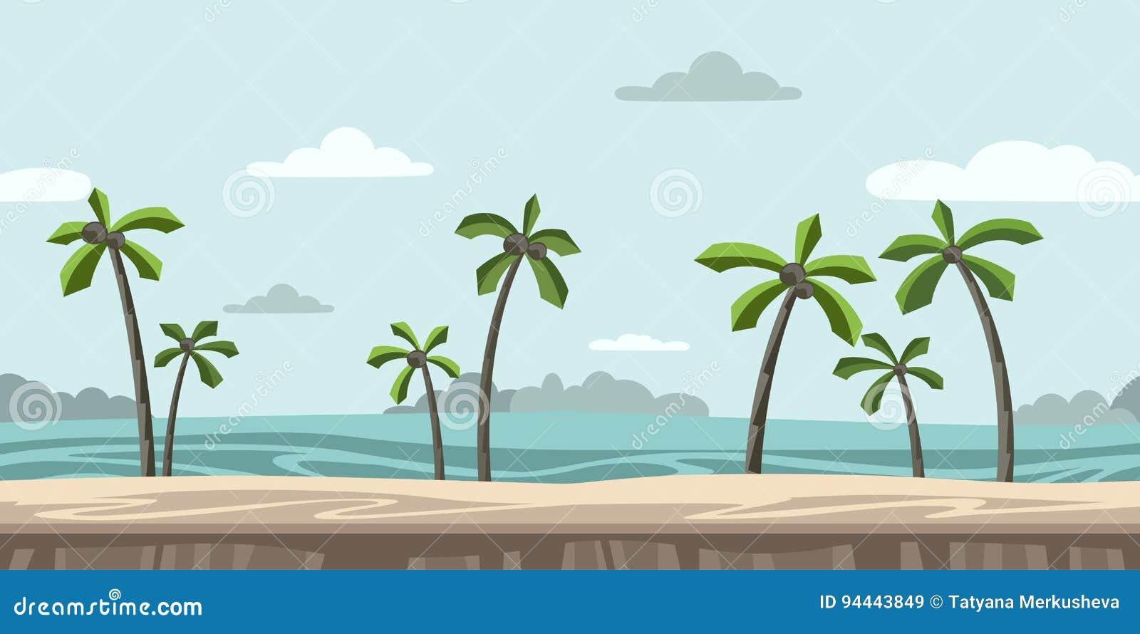 Fondo senza fine senza cuciture per il videogioco arcade Spiaggia sabbiosa con le palme e le nuvole nel cielo blu Vettore