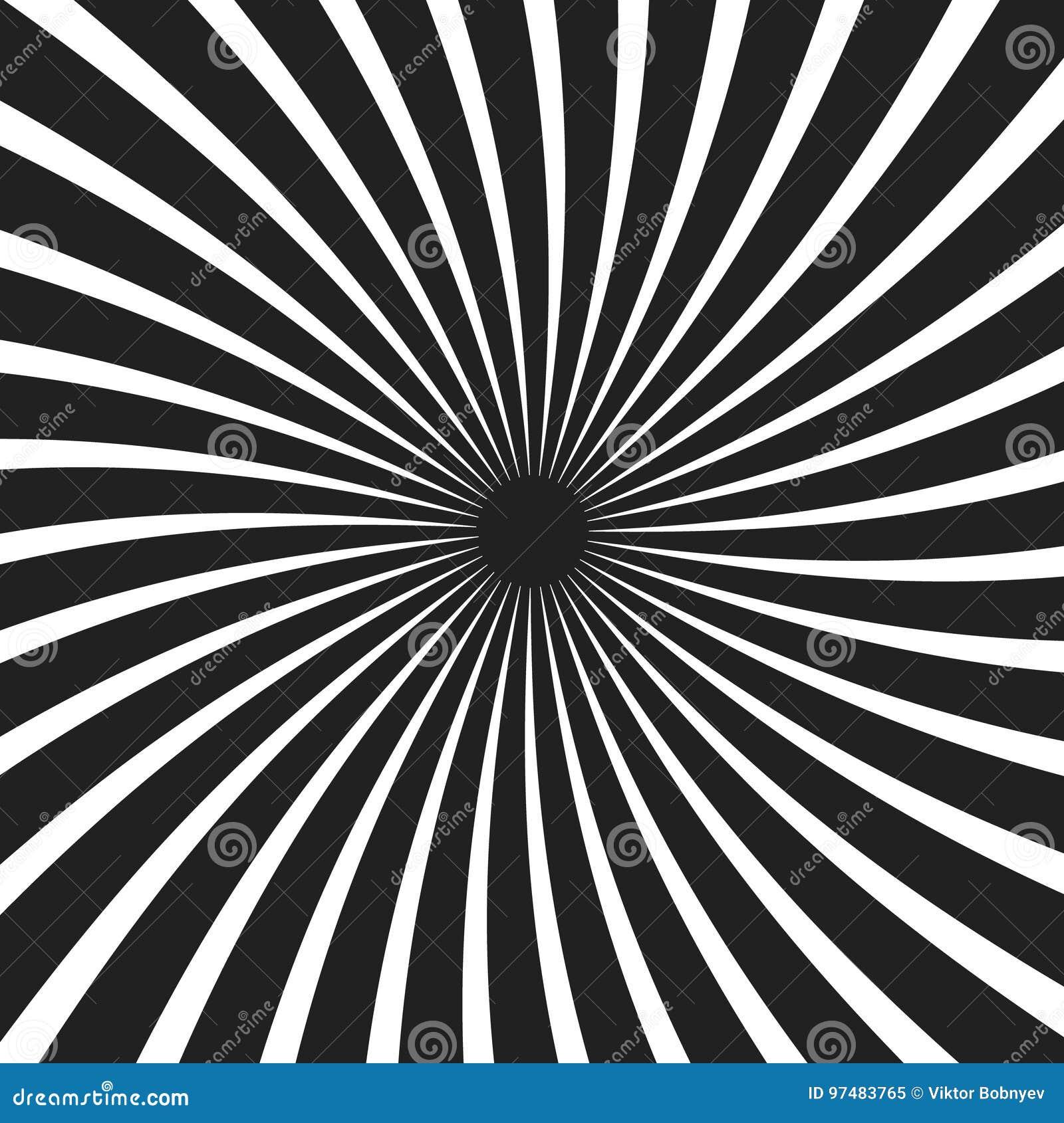 Fondo a spirale in bianco e nero del raggio