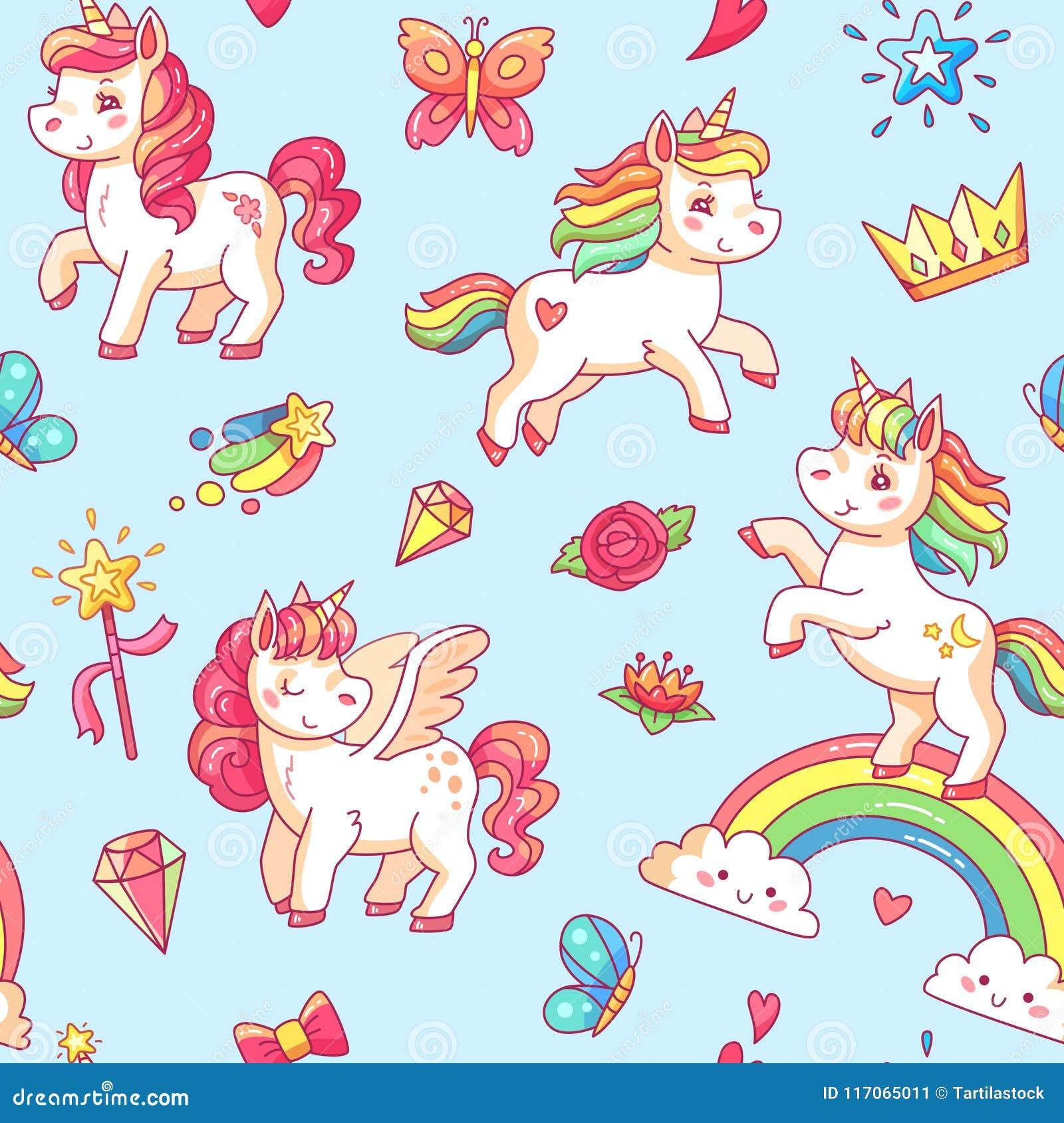 Fondo sveglio di schizzo del cavallino della bambina del fumetto I sogni dolci di miracolo con l unicorno, le nuvole e l arcobale
