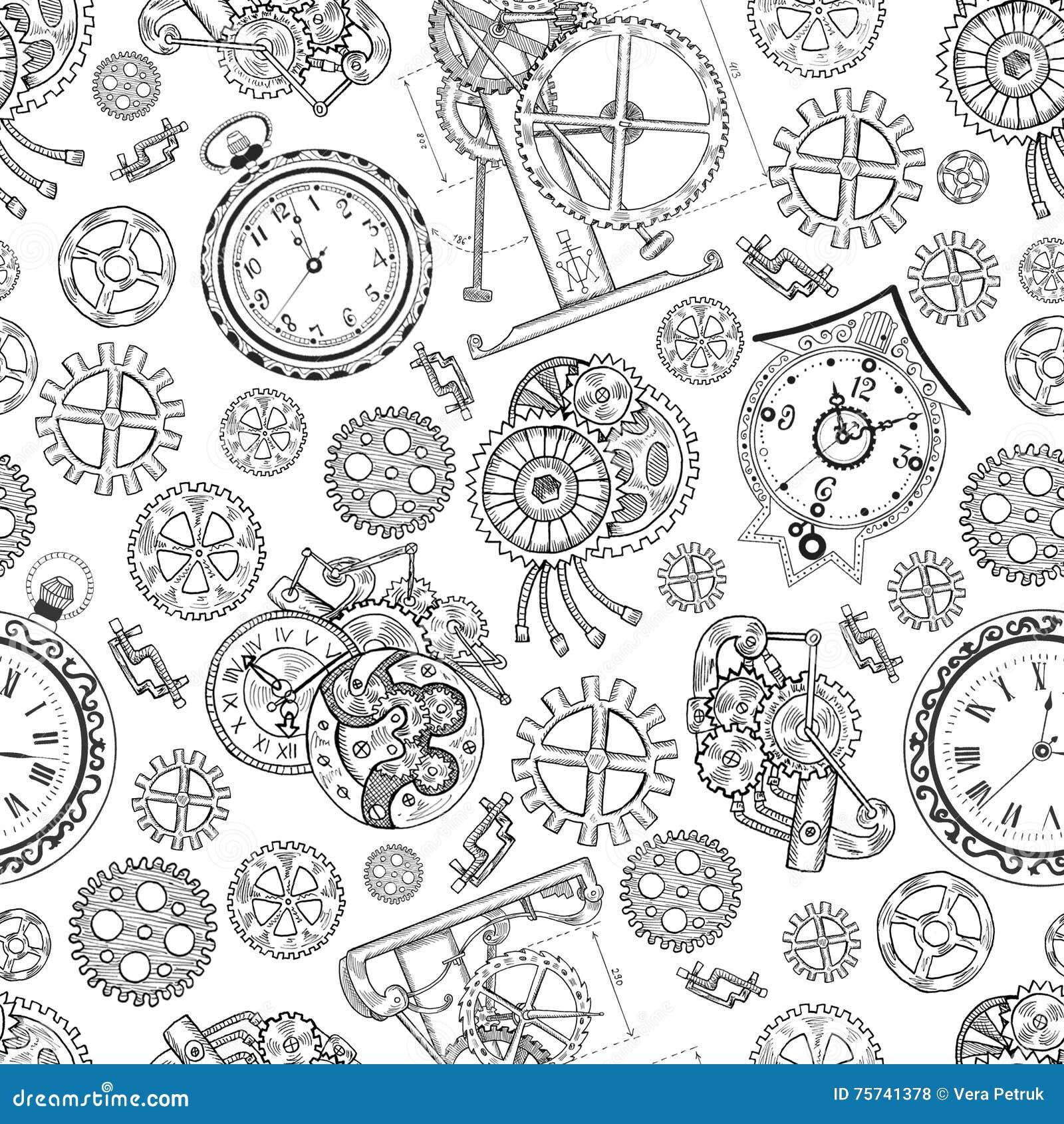 Fondo Texturizado Inconsutil Con Los Relojes Y Las Partes Mecanicas