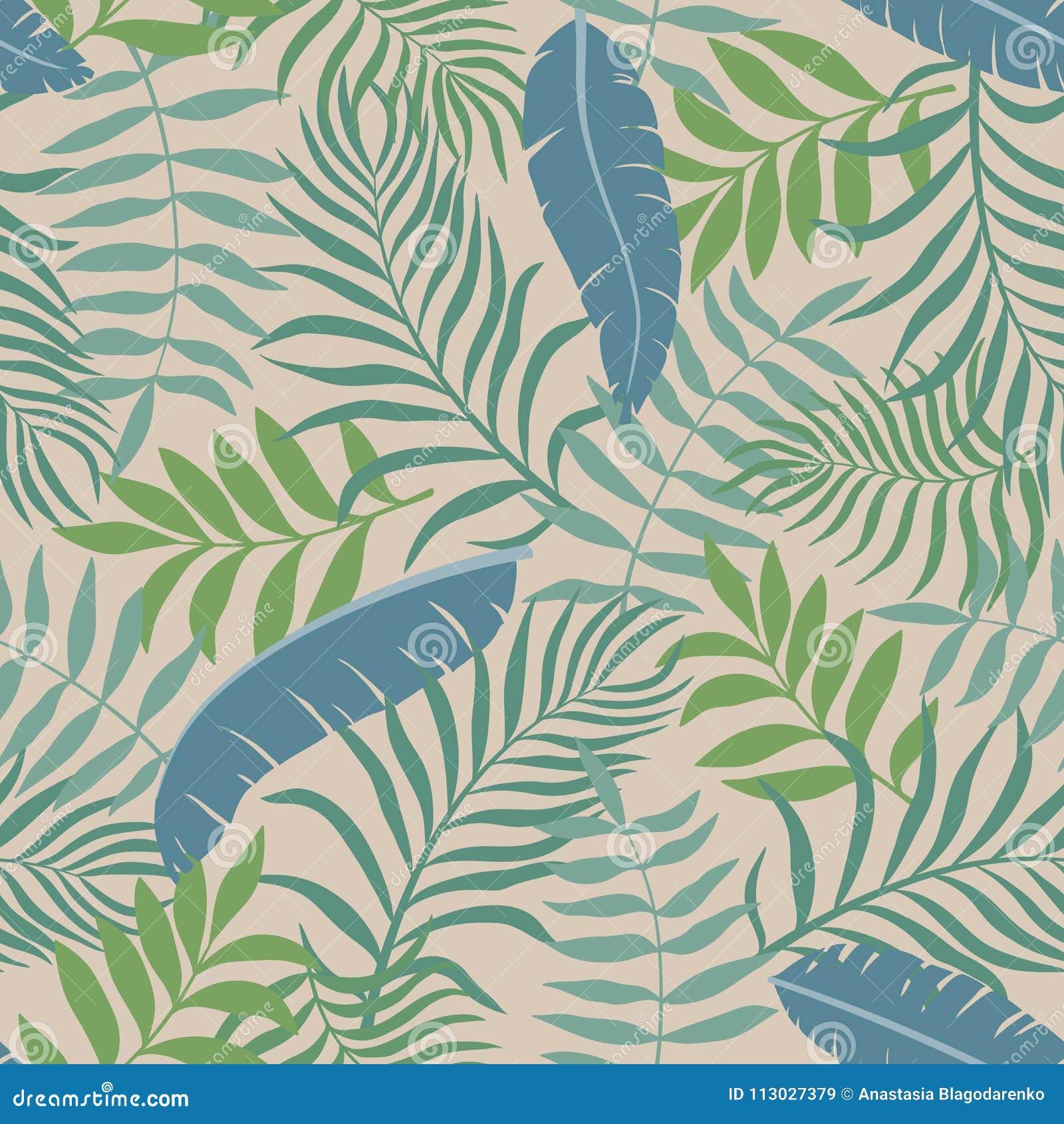 Fondo tropical con las hojas de palma Modelo floral inconsútil S