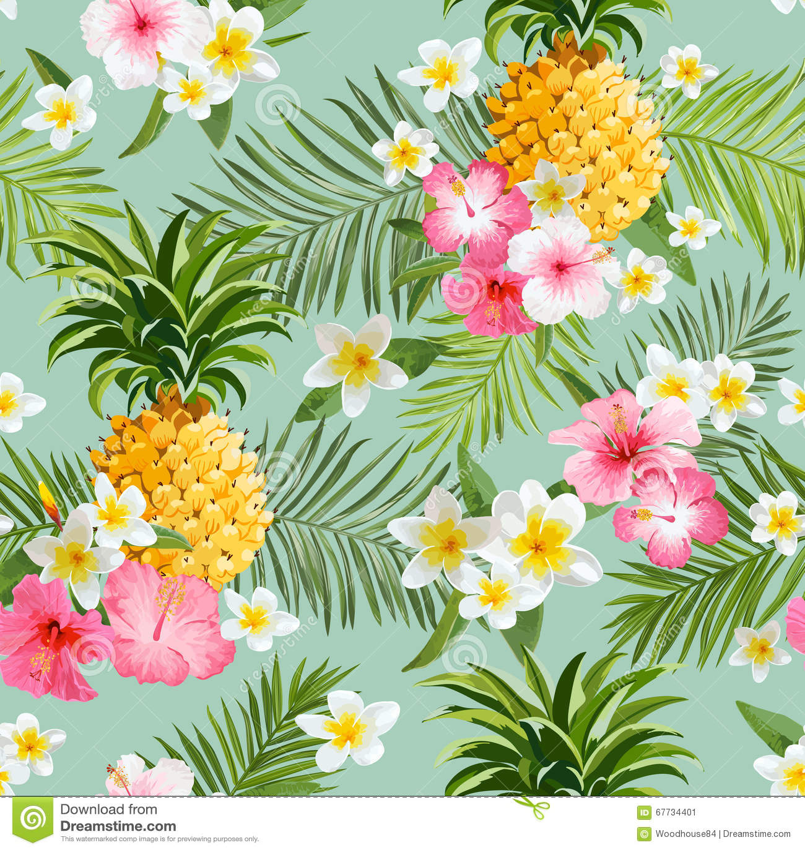 Fondo tropical de las flores y de las piñas