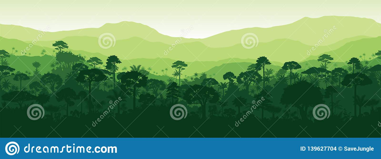 Fondo tropical inconsútil horizontal del bosque de la selva de la selva tropical de Gayana del vector