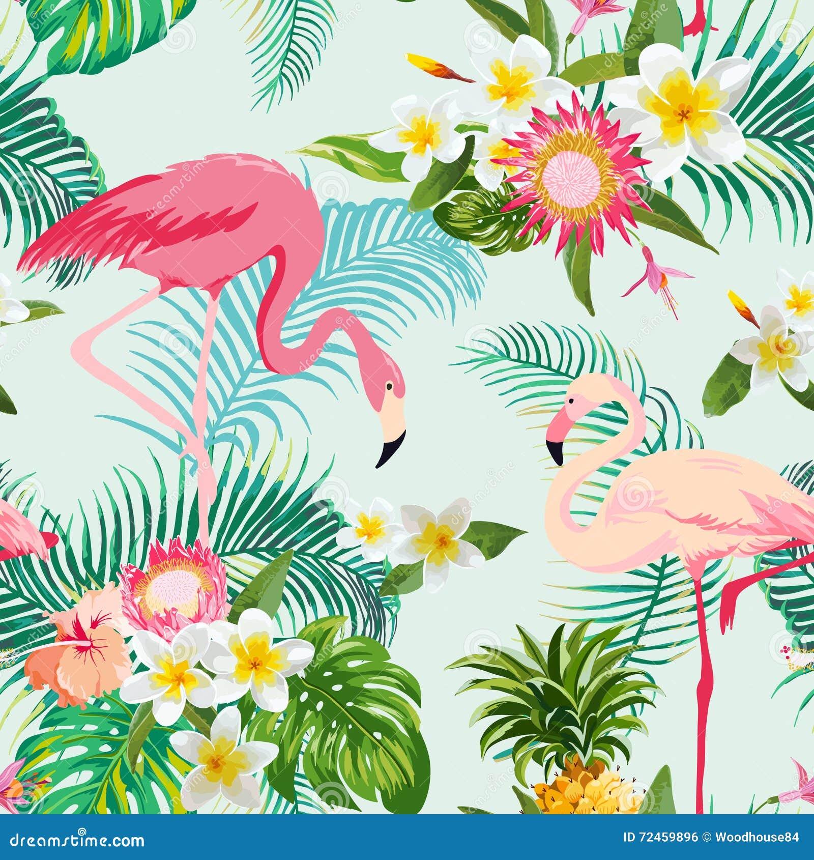 Fondo tropicale degli uccelli e dei fiori Reticolo senza giunte dell annata