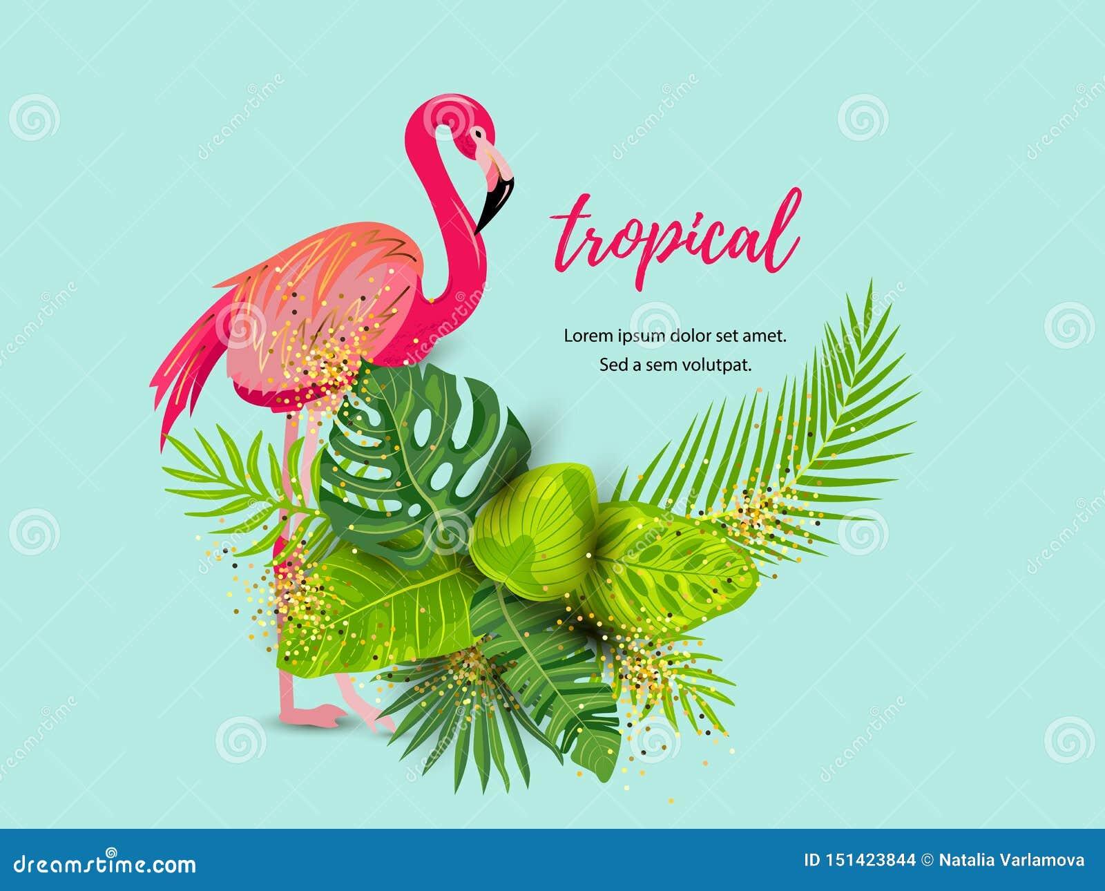 Fondo tropicale di estate verde con il fenicottero rosa e le foglie esotiche