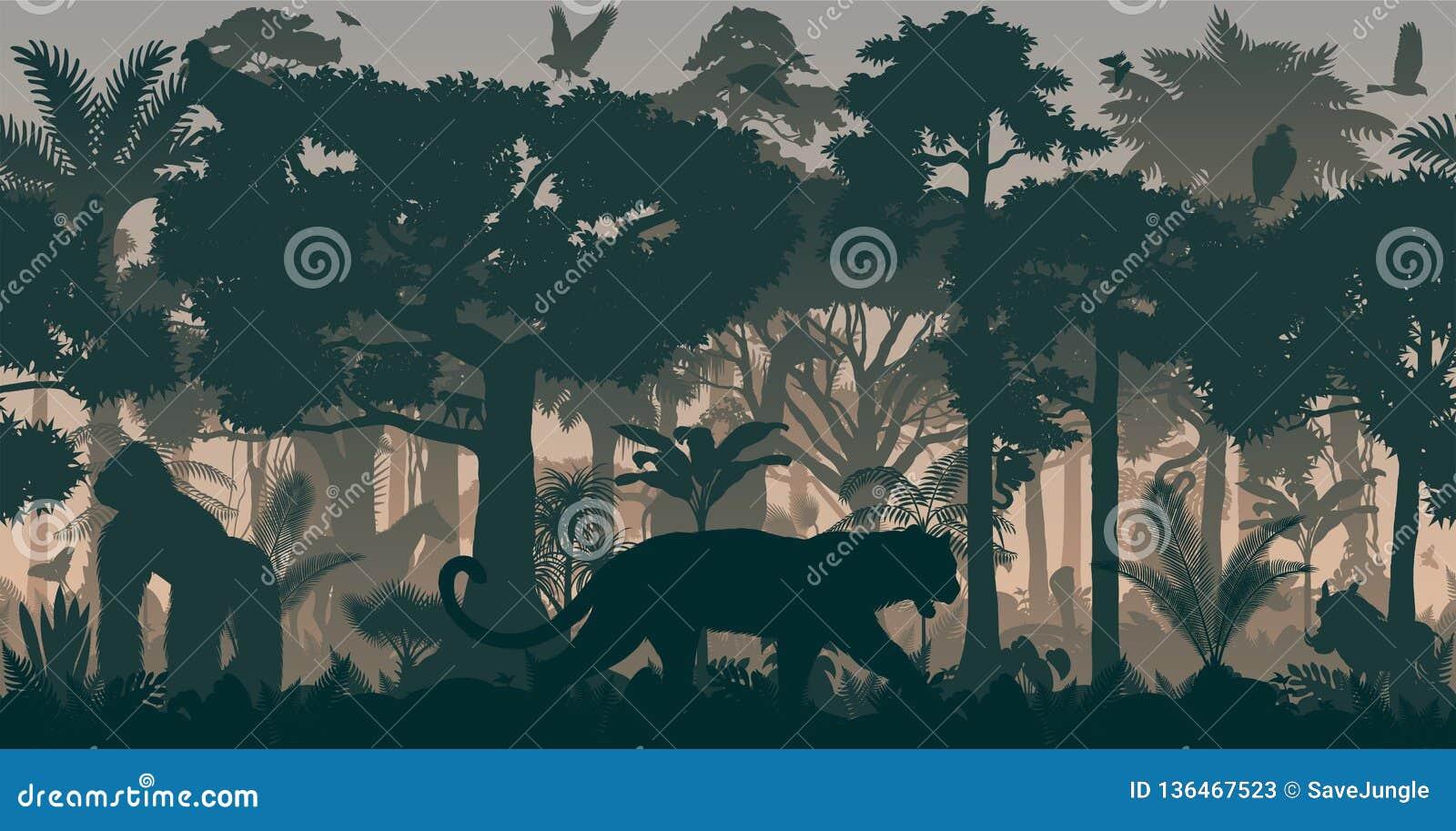 Fondo tropicale senza cuciture orizzontale africano della giungla della foresta pluviale di vettore con gli animali