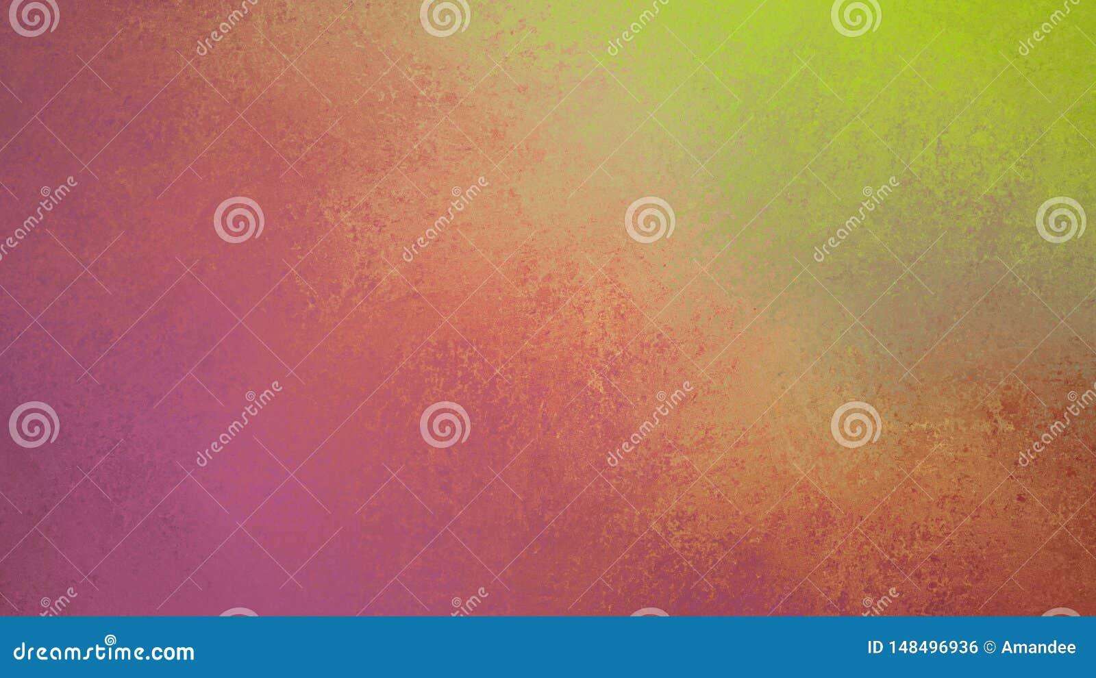 Fondo variopinto astratto con vecchia progettazione pulita e spalmata della pittura, verde rosa e giallo porpora