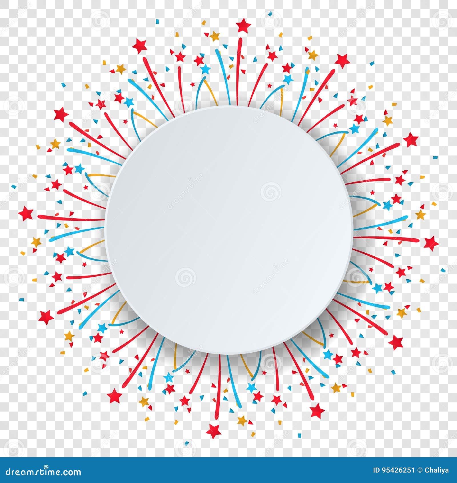 Fondo variopinto di celebrazione con i coriandoli ed i fuochi d artificio del vario partito Spazio di carta del fumetto del cerch