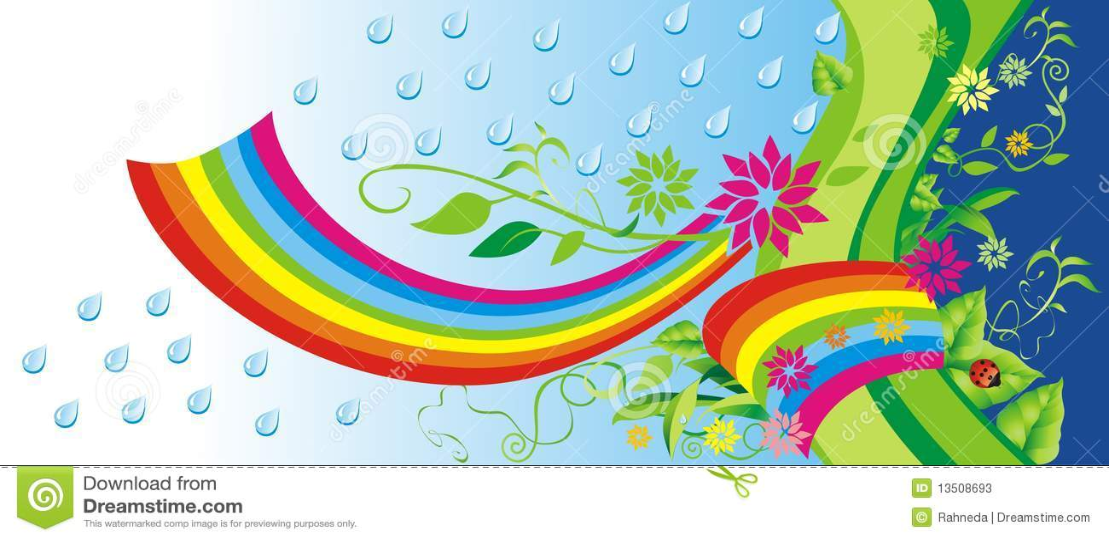 Fondo verde con el arco iris.