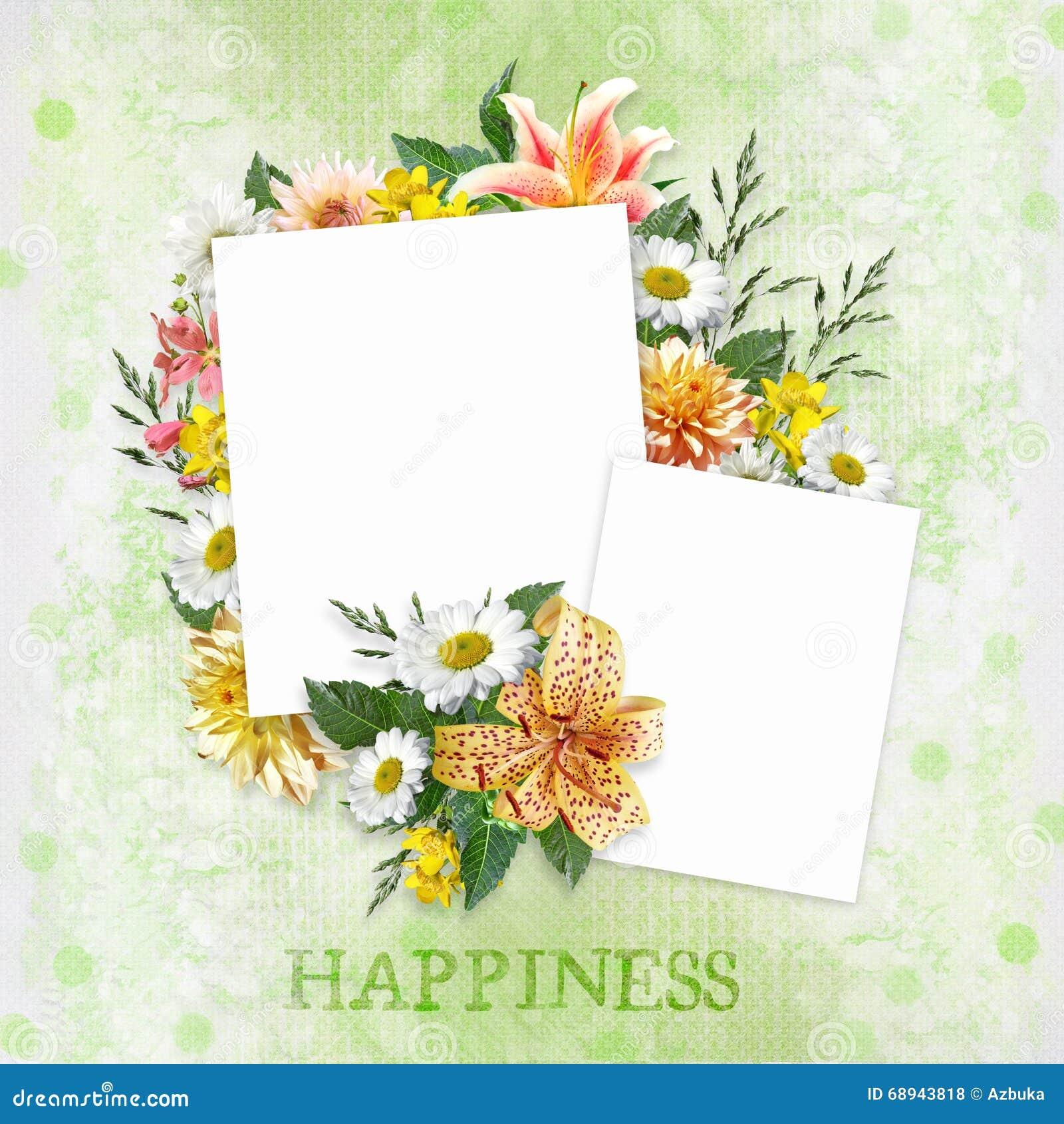 Fondo Verde Con Las Flores Hermosas Y Marcos Con El Espacio Para La ...