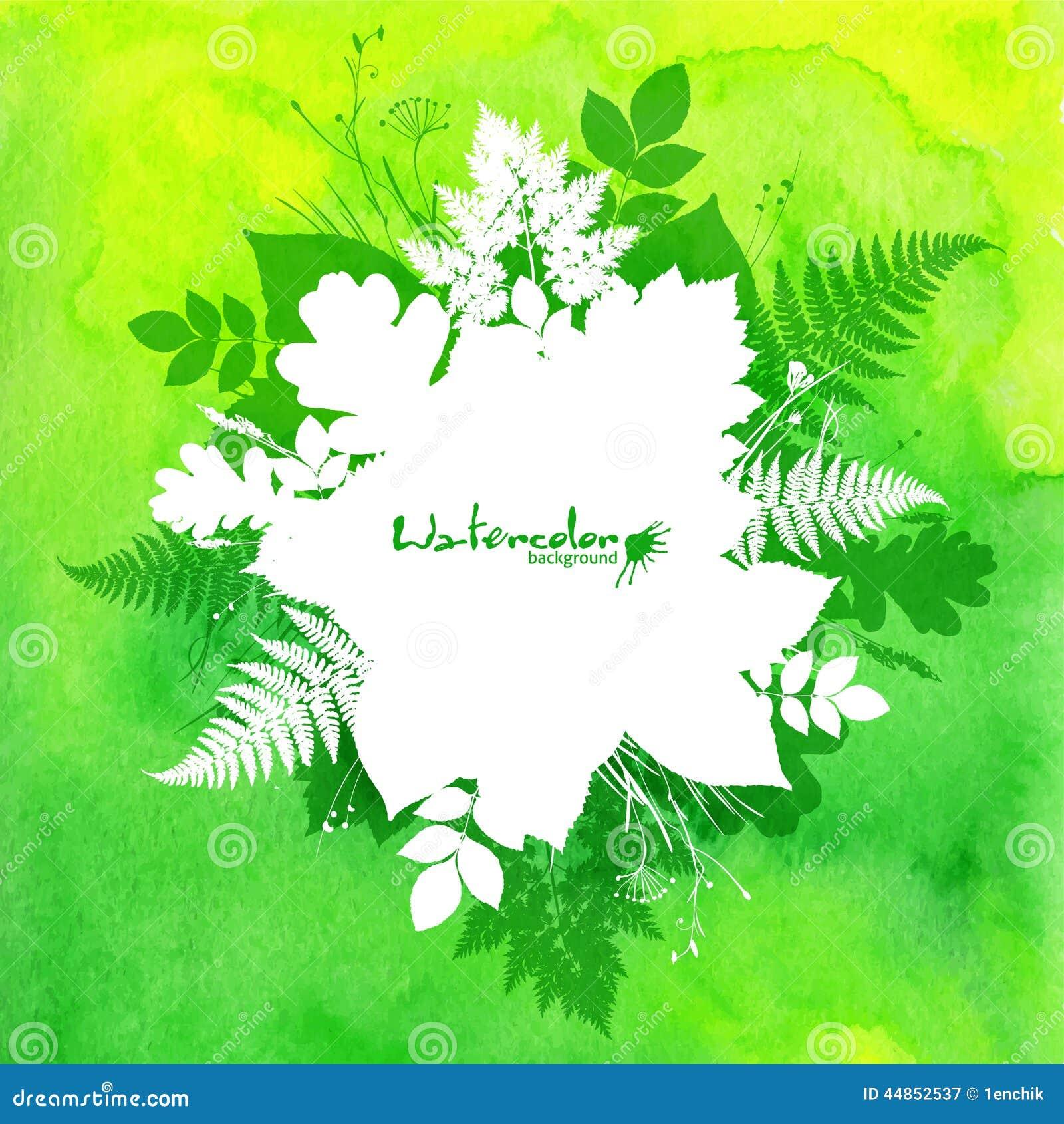 Fondo verde de la acuarela con las hojas blancas