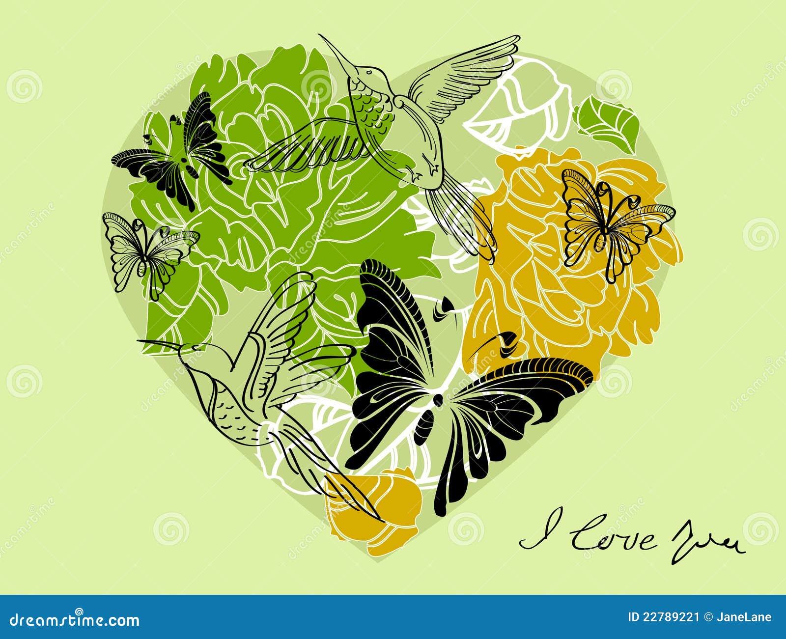 Fondo verde floral de la tarjeta del día de San Valentín con el corazón