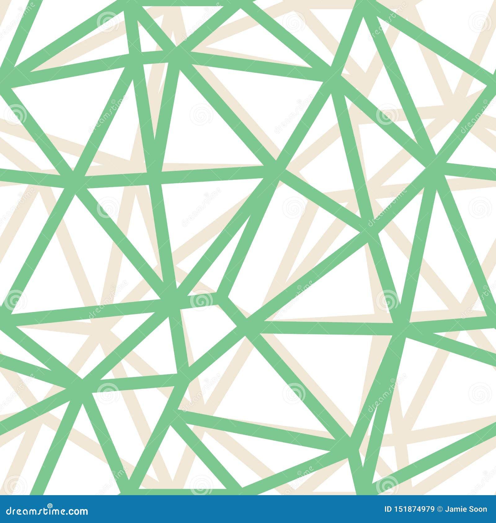 Fondo verde geométrico de los esquemas del triángulo del extracto del vector Conveniente para la materia textil, el papel de rega