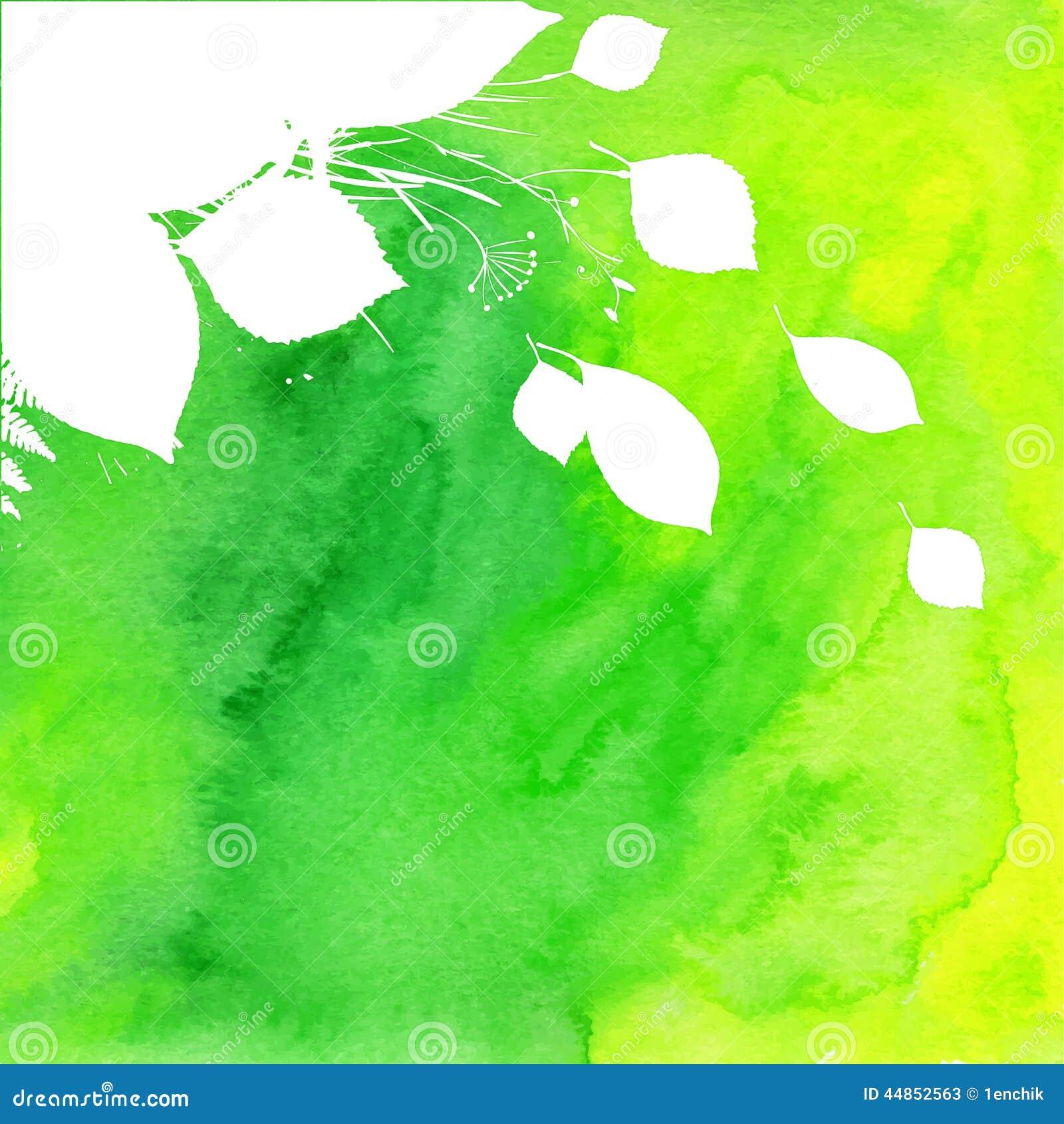 Fondo verde pintado acuarela con blanco