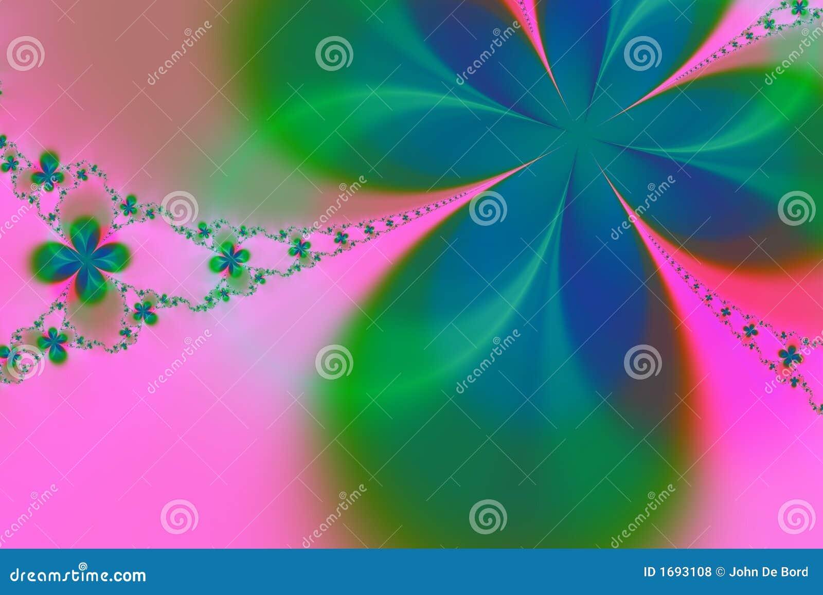 Fondo verde y rosado del fractal de la estrella