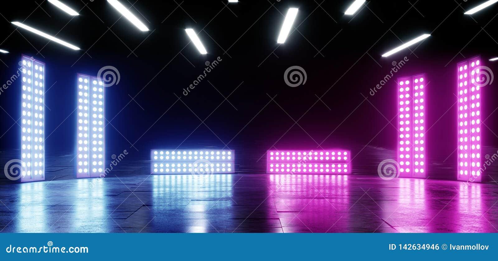 Fondo vibrante de neón de la púrpura azul que brilla intensamente en la ilusión óptica concreta de Asphalt Reflective Spectrum La