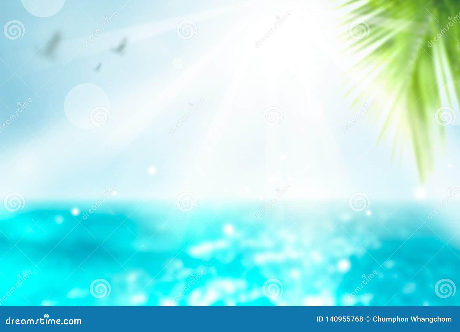 Fondo vivo di estate Palma vaga e fondo tropicale del bokeh della spiaggia Tempo di vacanza