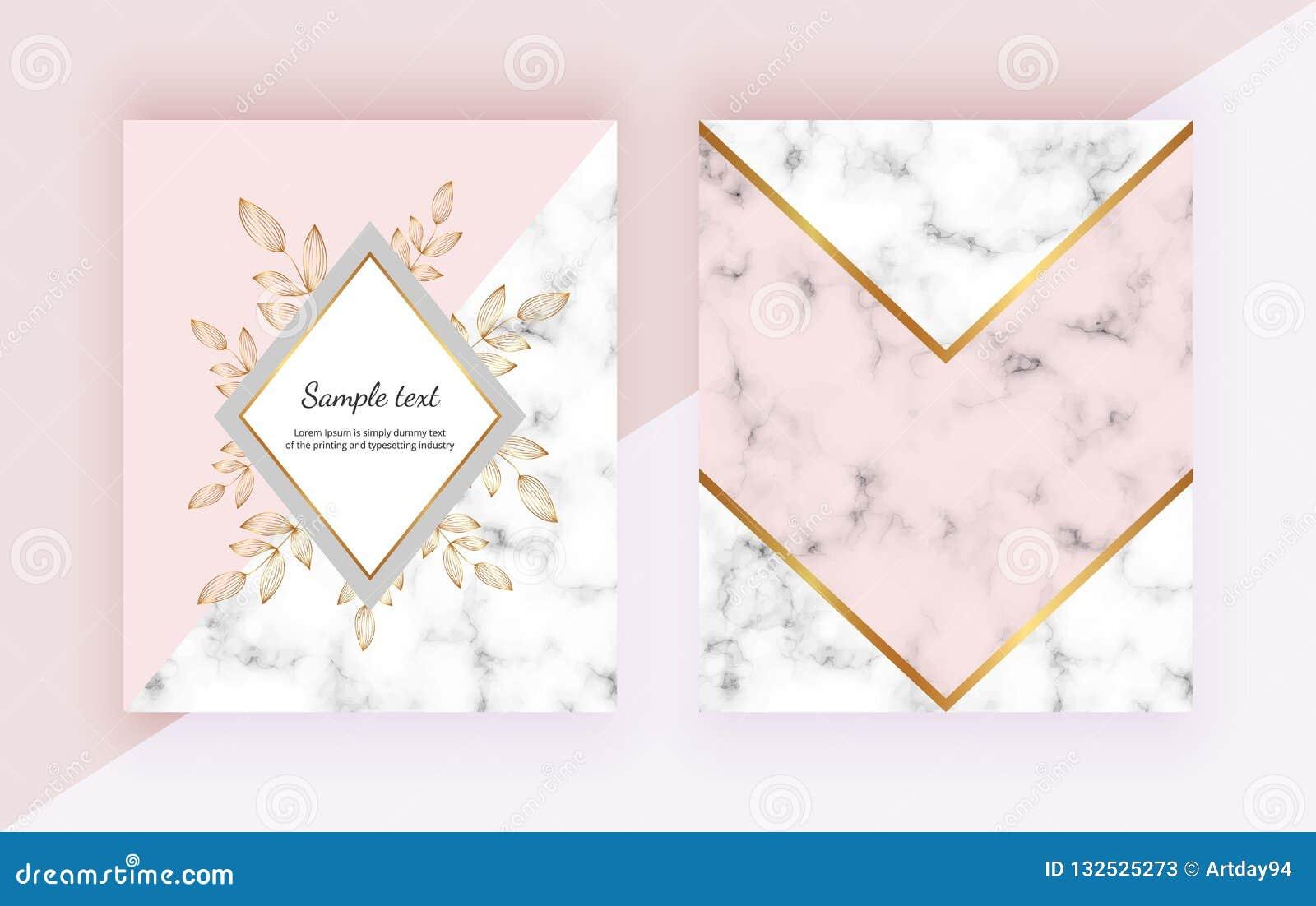 Fondos modernos con las flores, diseño geométrico de mármol, líneas de oro, formas triangulares Plantillas para la invitación, bo
