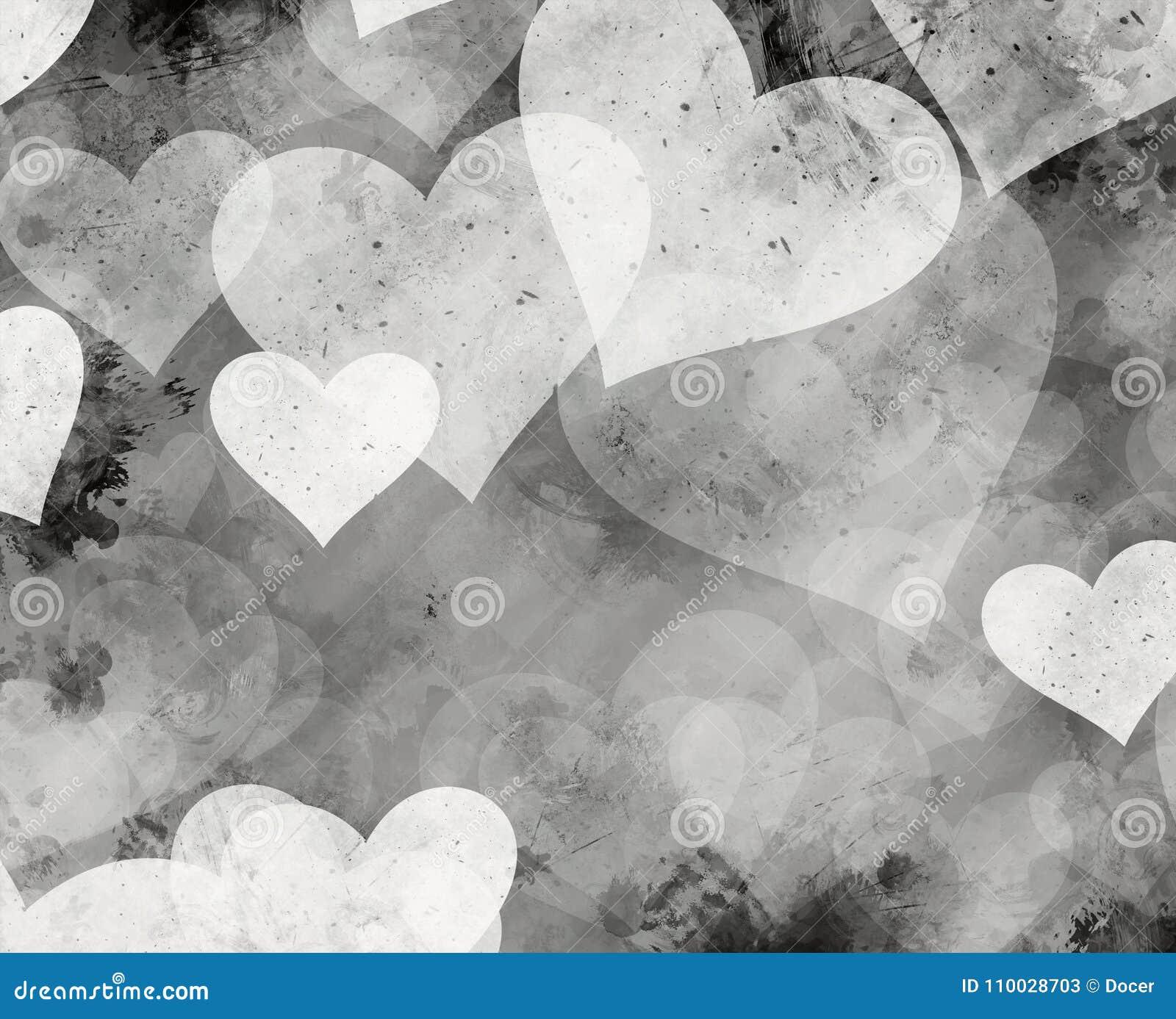 Fondos pintados blancos y negros de los corazones