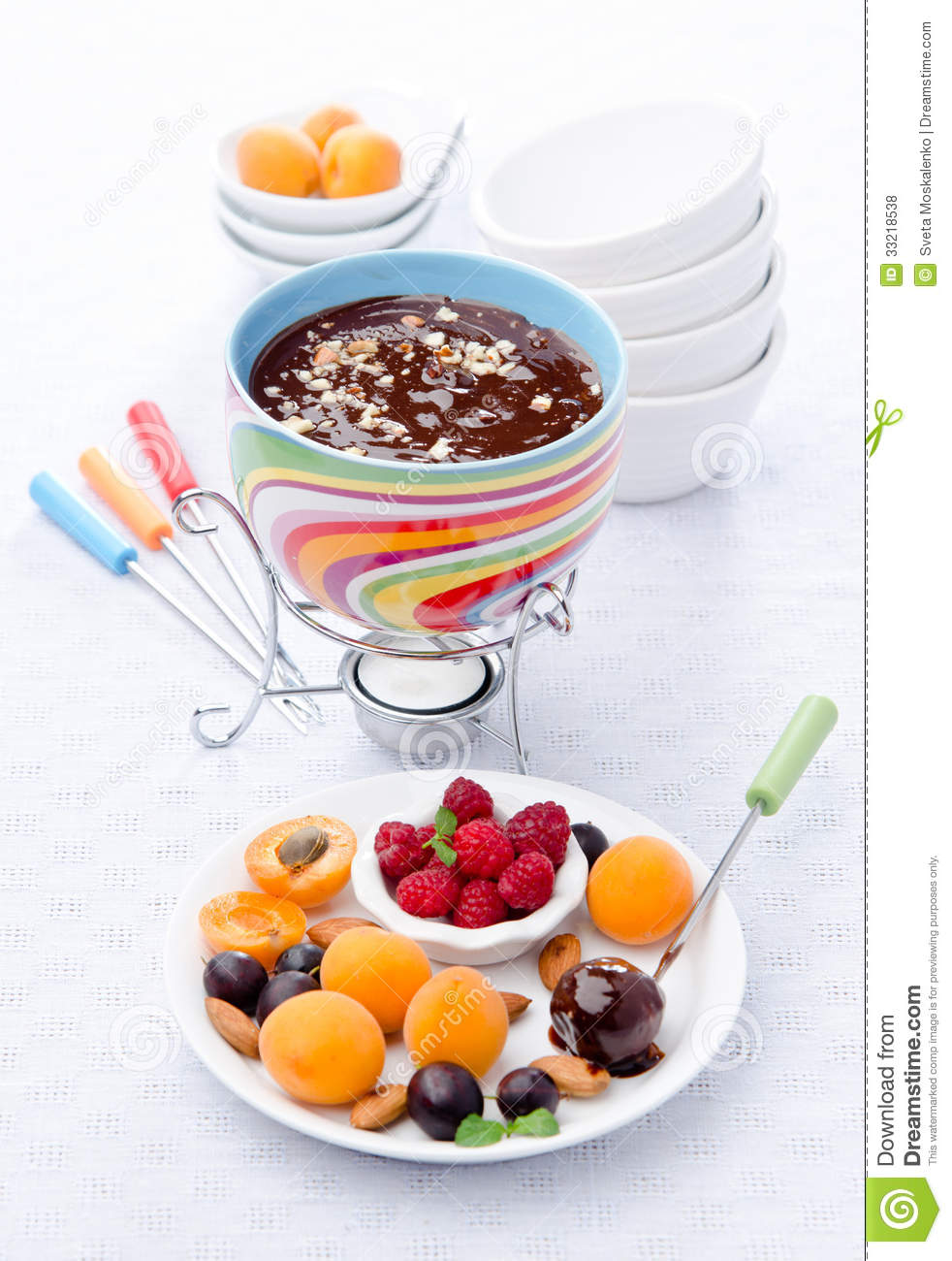 Fondue Chocolate With Almond Royalty Free Stock Photos ...