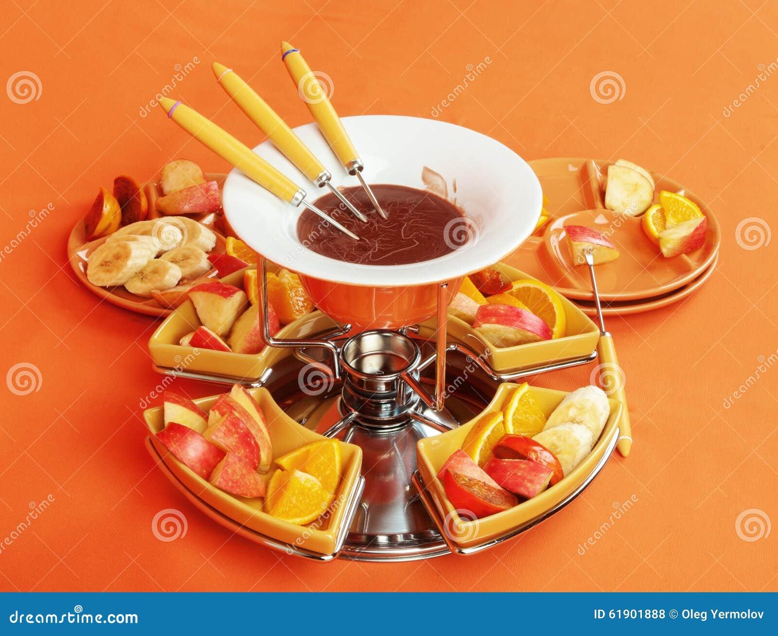 fondue  de chocolate con las frutas