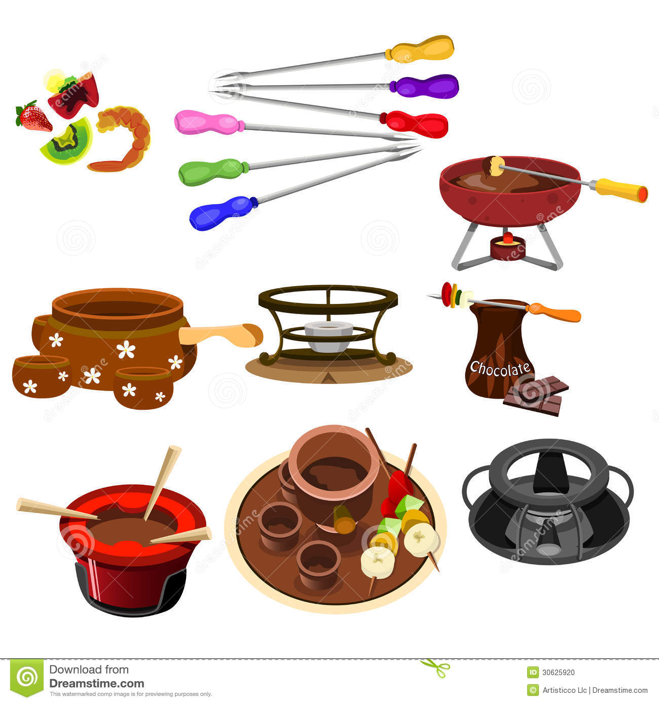 Fondue icons stock vector image of food design for Art cuisine evolution 10 piece cooking set