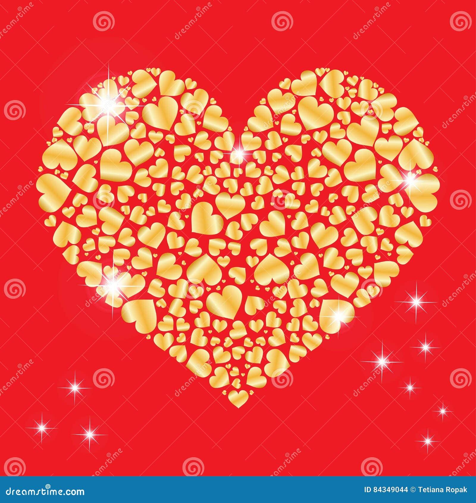Fonkelend hart met vele kleine binnen harten Element voor ontwerp Vector illustratie voor de Dag van Valentijnskaarten Het concep