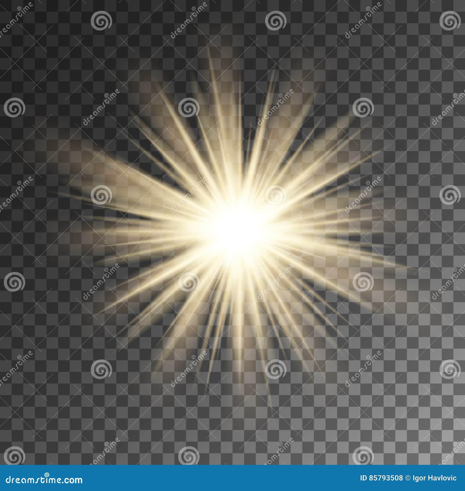 Fonkelende de stergloed van zonstralen Fonkeling op vectorachtergrond