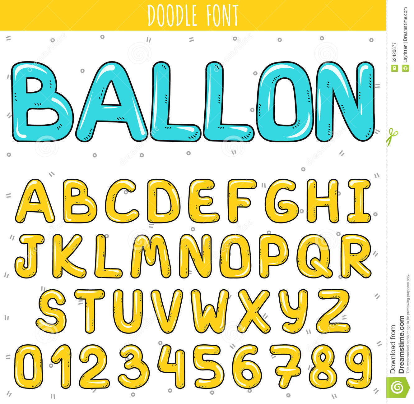Font ballon. Set volume letters, numbers in doodle. Letters handdrawn