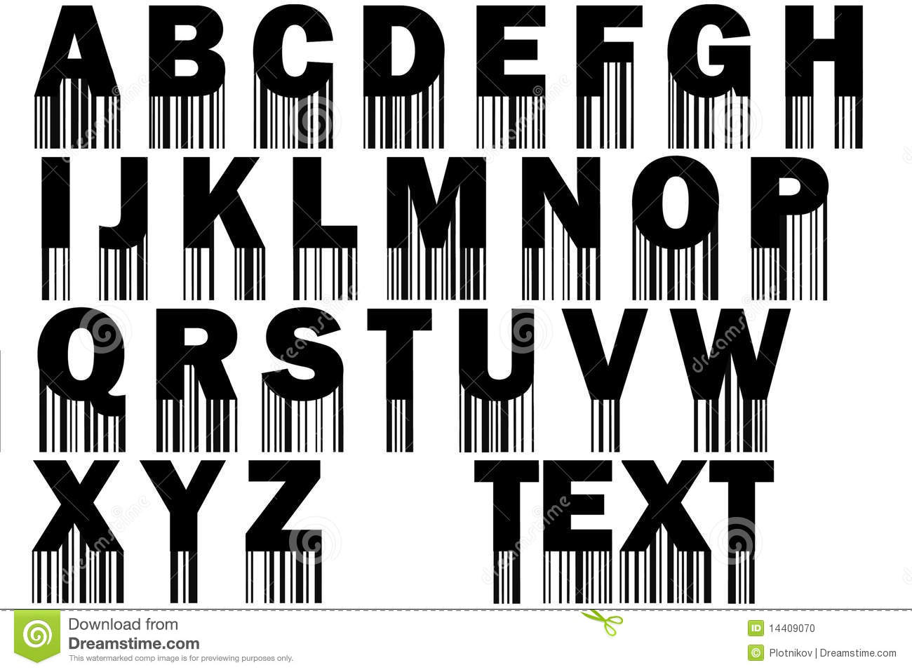 U Graffiti Letters Font With Barcode Stoc...