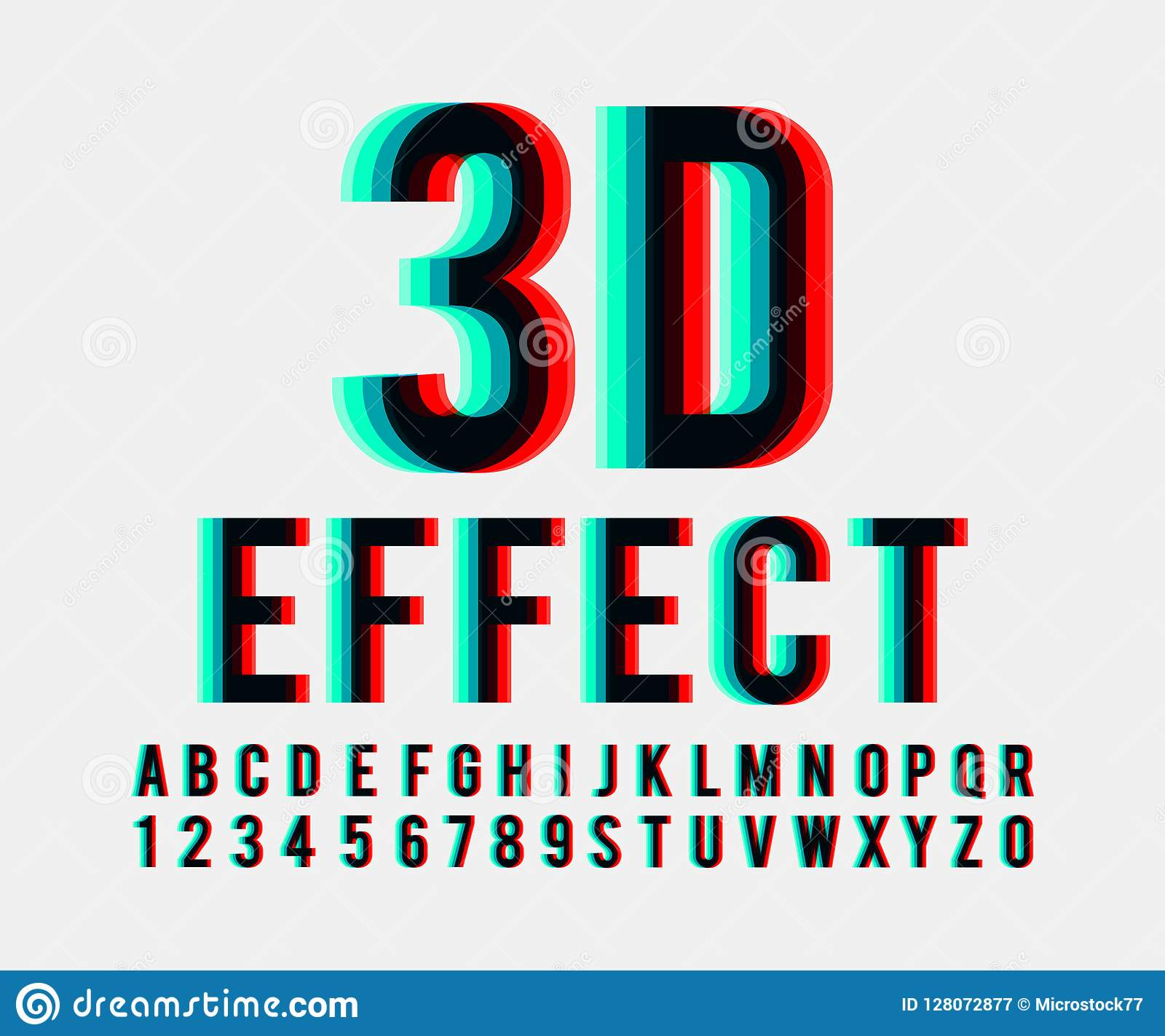 Font 3d Effect Vector Stock Vector. Illustration Of