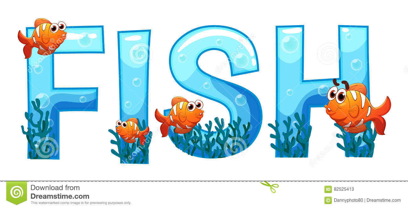 Font design for word fish stock vector illustration of for Is fishes a word