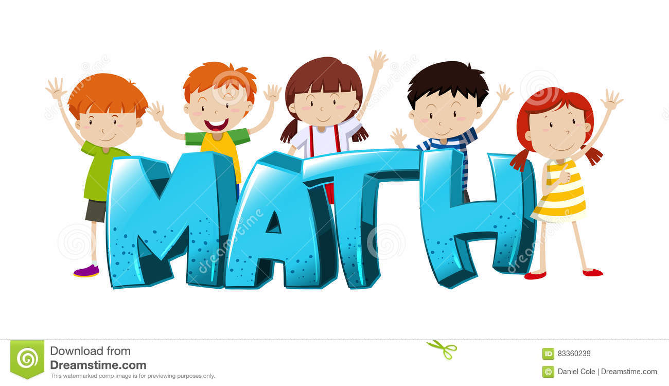 font design for word math with boys and girls stock vector