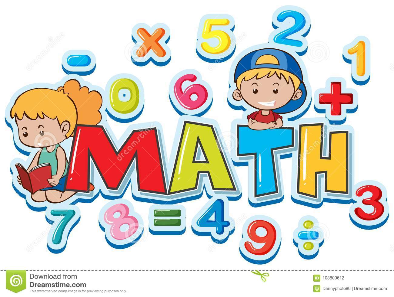 Font Design For Word Math With Many Numbers And Kids Stock Vector ...