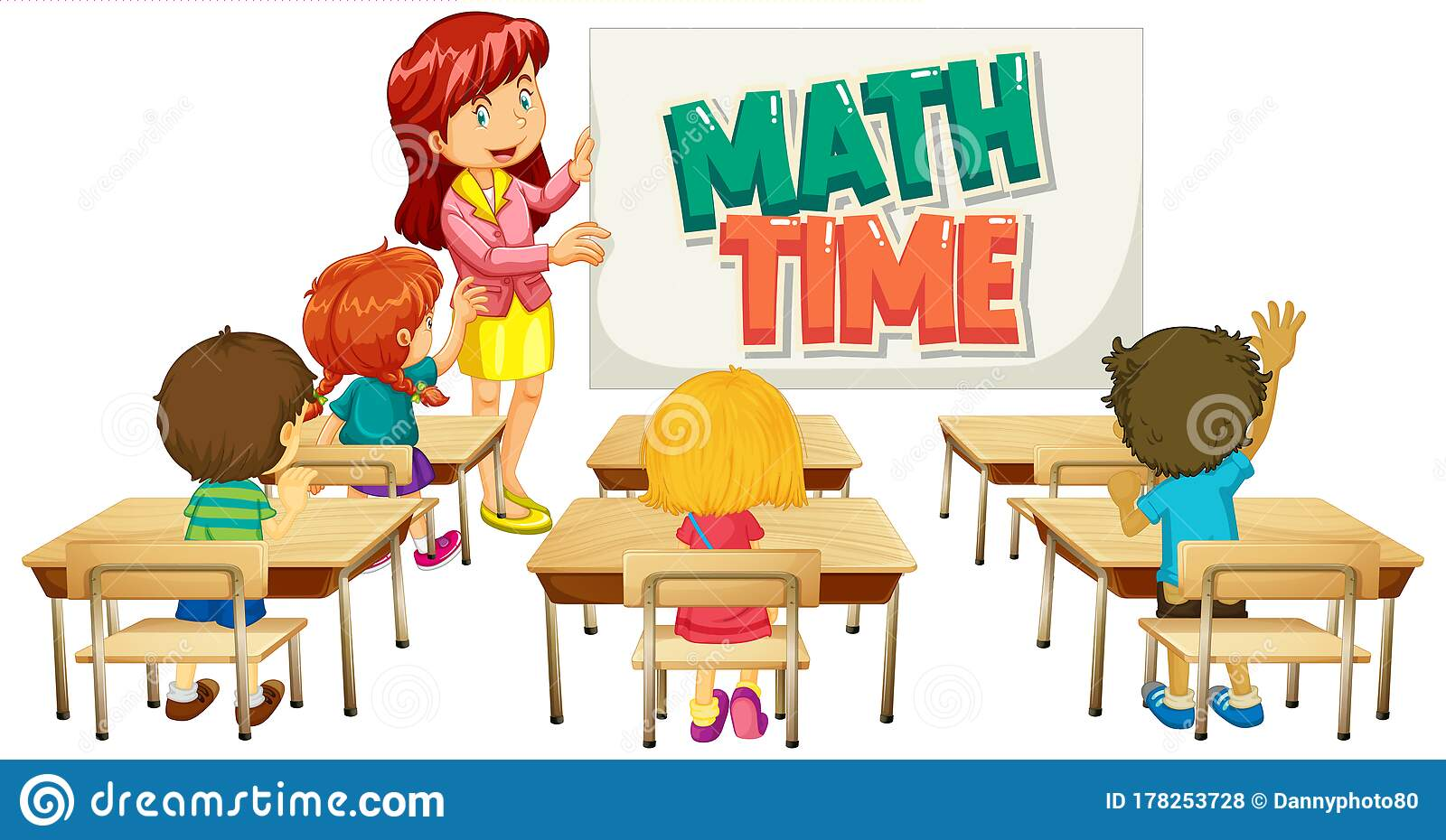 Font Design For Word Math Time With Teacher And Students ...
